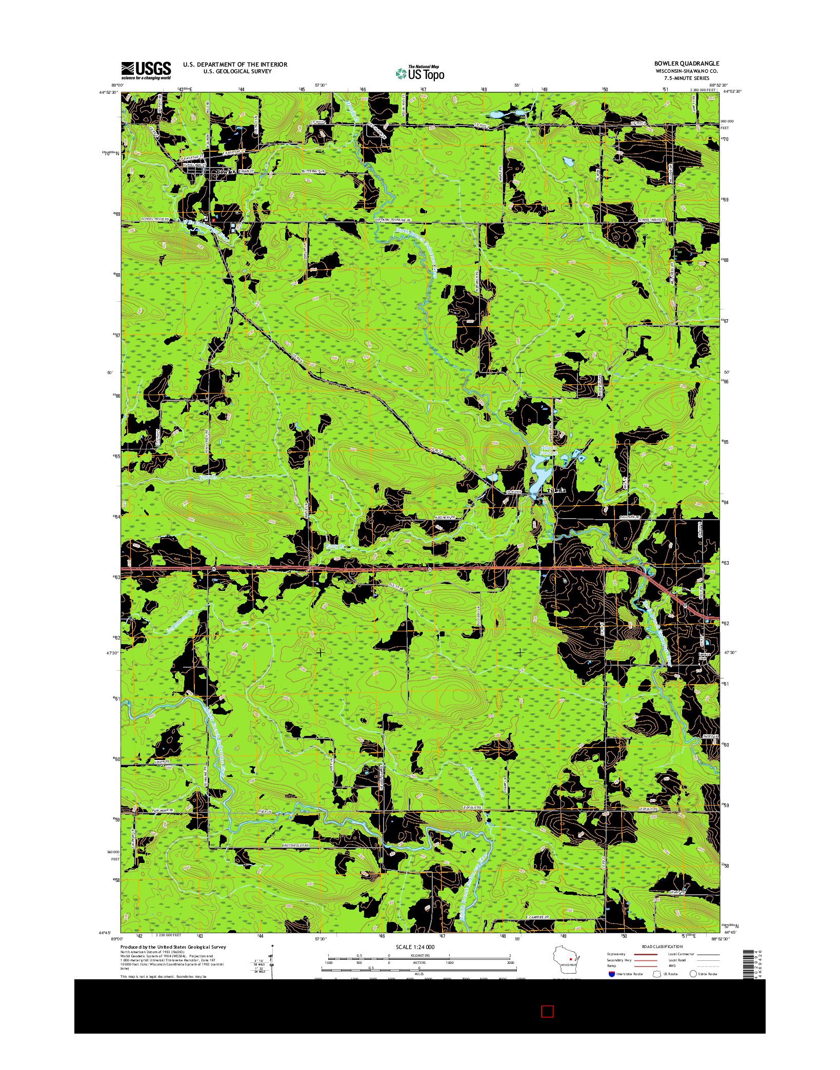USGS US TOPO 7.5-MINUTE MAP FOR BOWLER, WI 2016