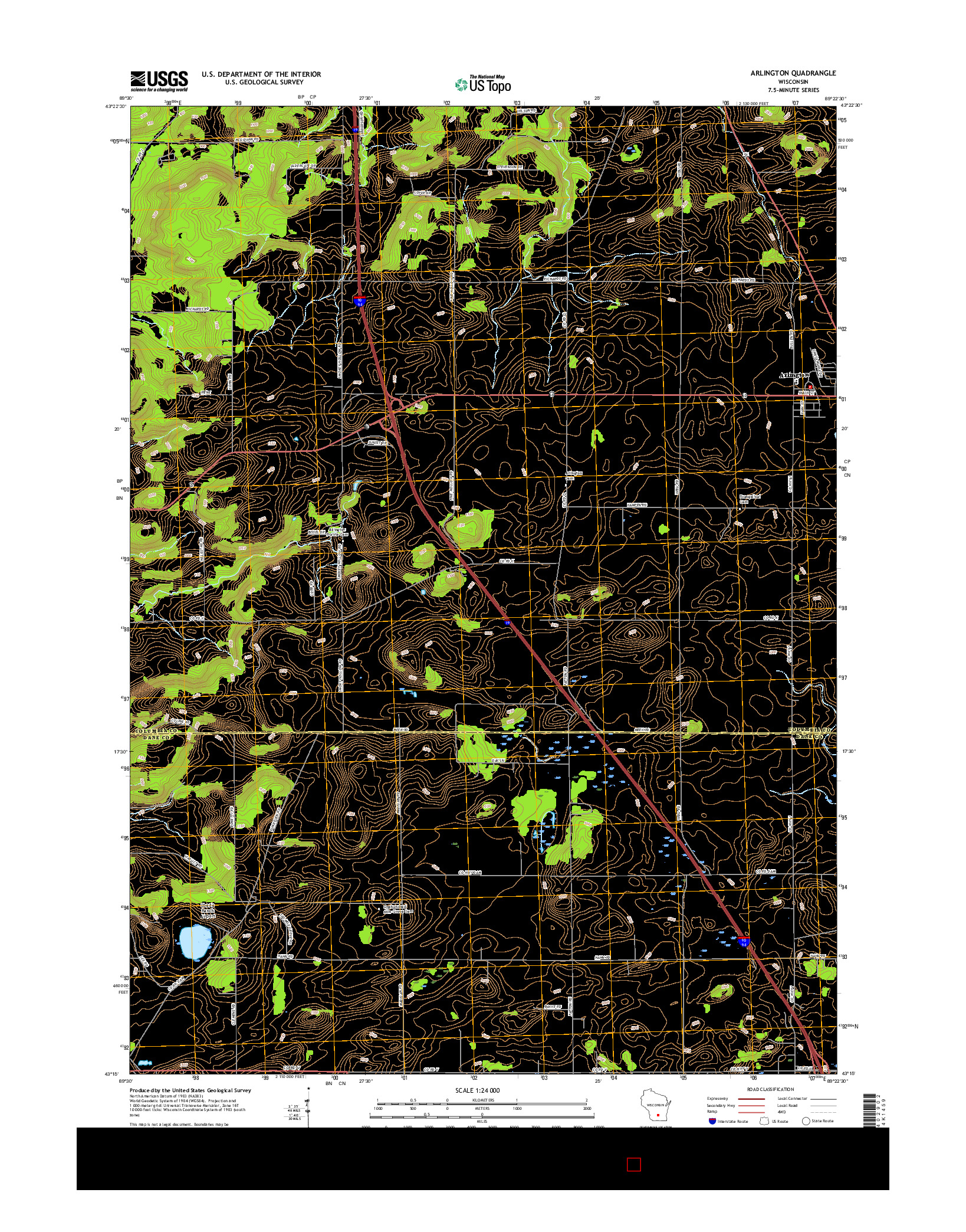 USGS US TOPO 7.5-MINUTE MAP FOR ARLINGTON, WI 2016