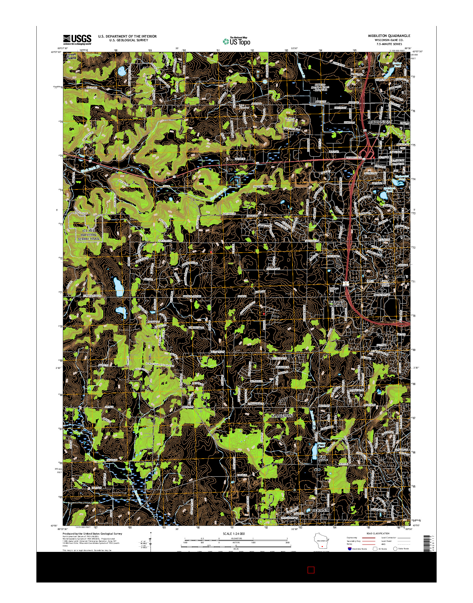 USGS US TOPO 7.5-MINUTE MAP FOR MIDDLETON, WI 2016
