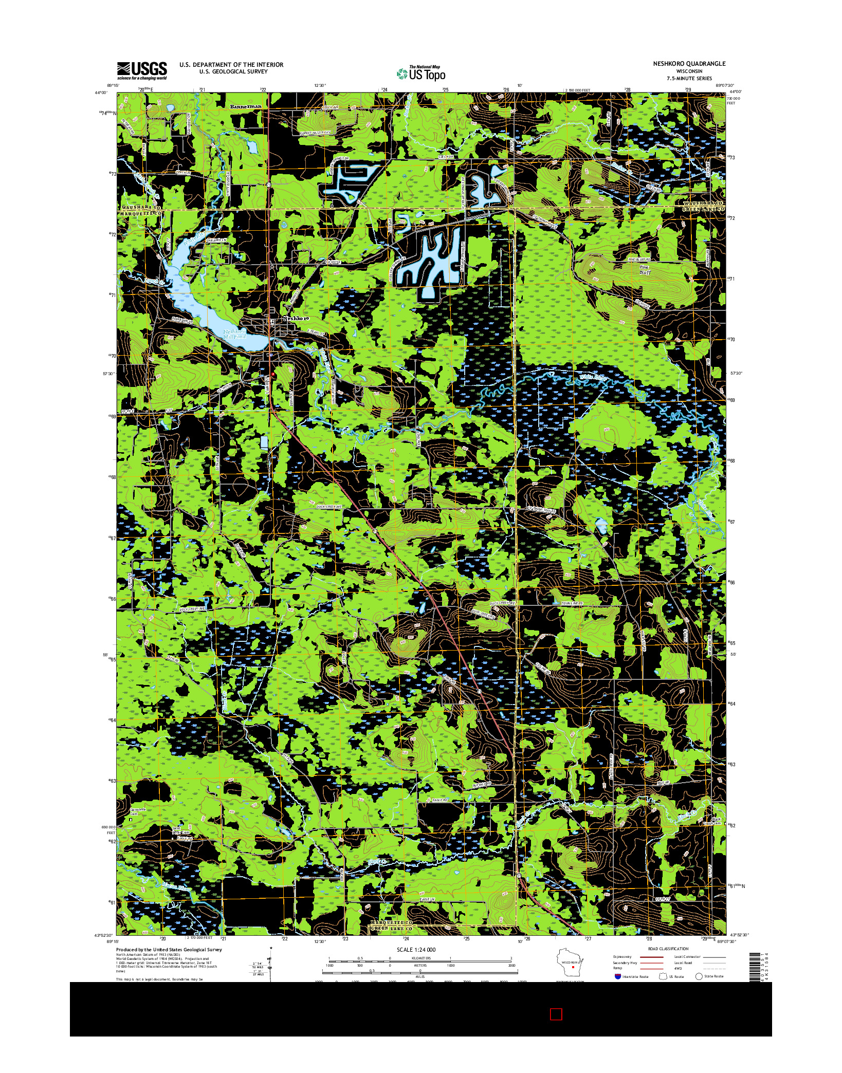 USGS US TOPO 7.5-MINUTE MAP FOR NESHKORO, WI 2016