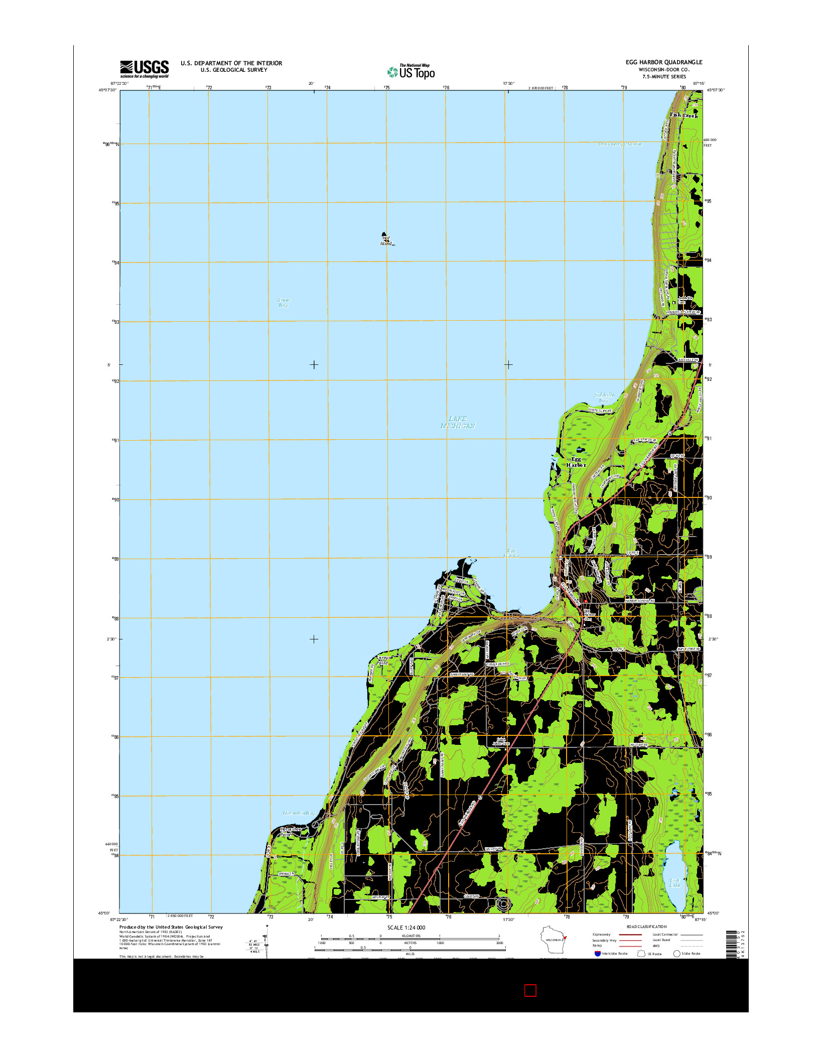 USGS US TOPO 7.5-MINUTE MAP FOR EGG HARBOR, WI 2016