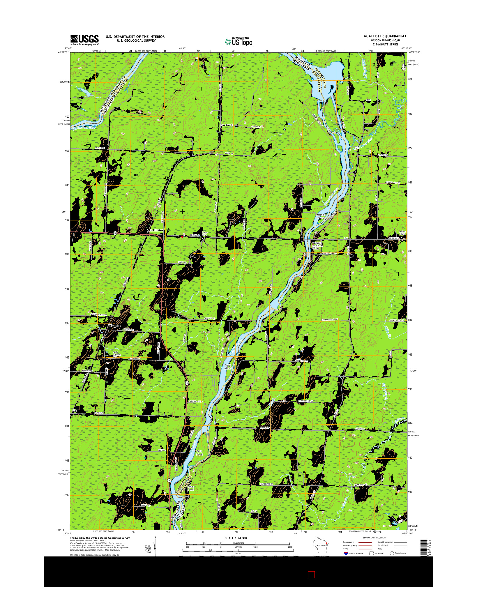 USGS US TOPO 7.5-MINUTE MAP FOR MCALLISTER, WI-MI 2016
