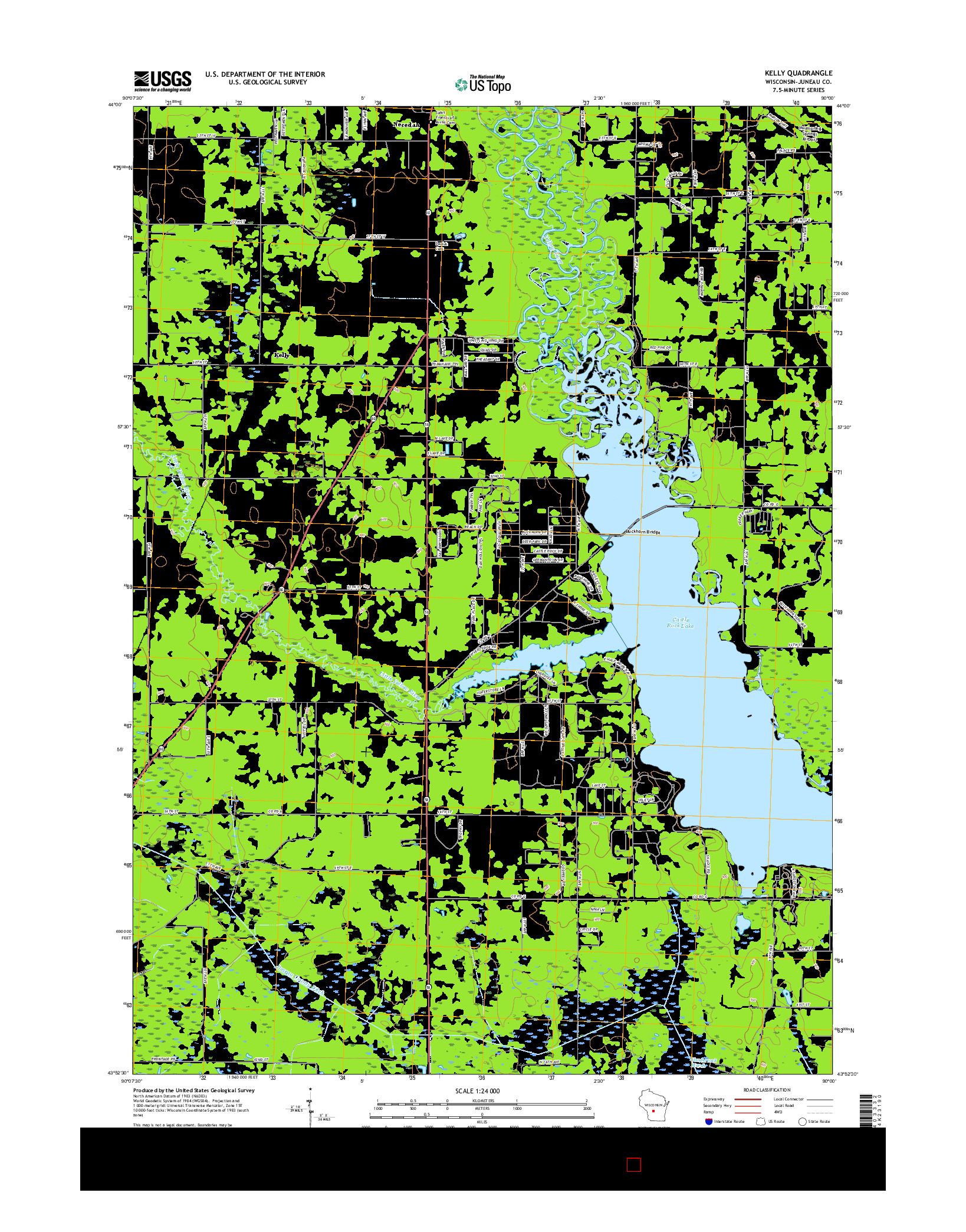 USGS US TOPO 7.5-MINUTE MAP FOR KELLY, WI 2016