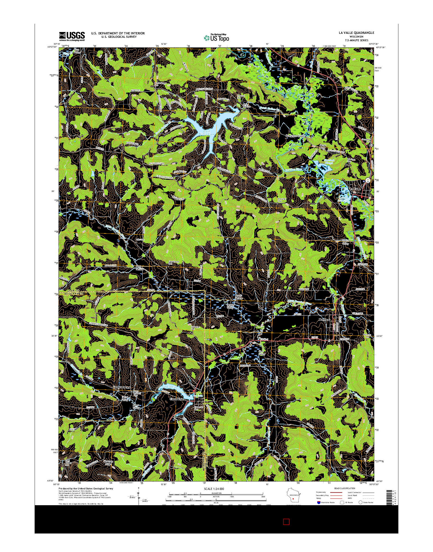 USGS US TOPO 7.5-MINUTE MAP FOR LA VALLE, WI 2016