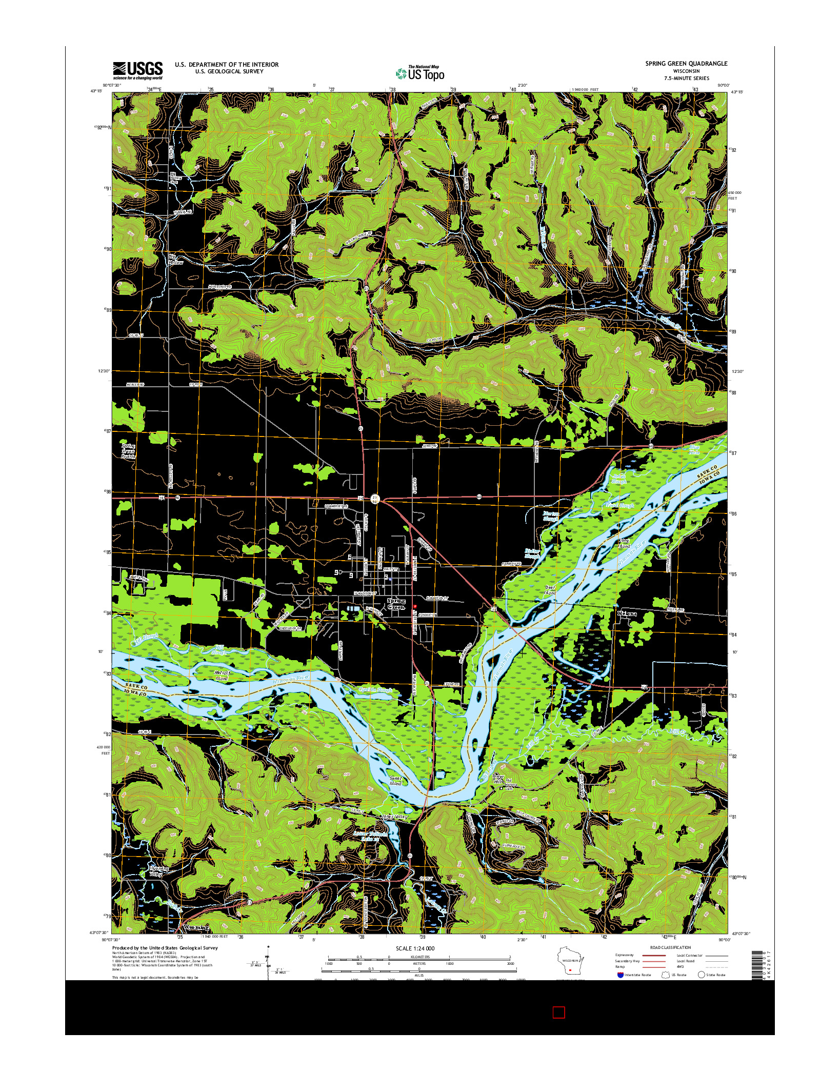 USGS US TOPO 7.5-MINUTE MAP FOR SPRING GREEN, WI 2016
