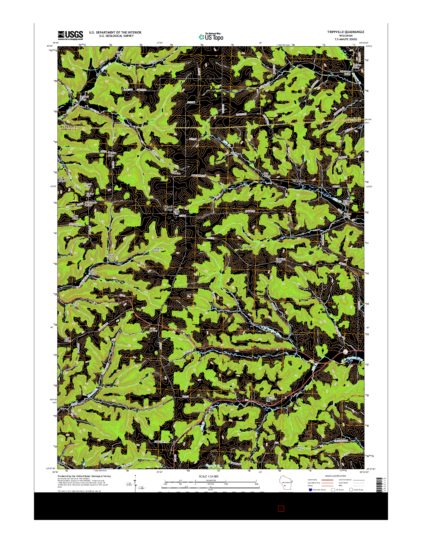 USGS US TOPO 7.5-MINUTE MAP FOR TRIPPVILLE, WI 2016