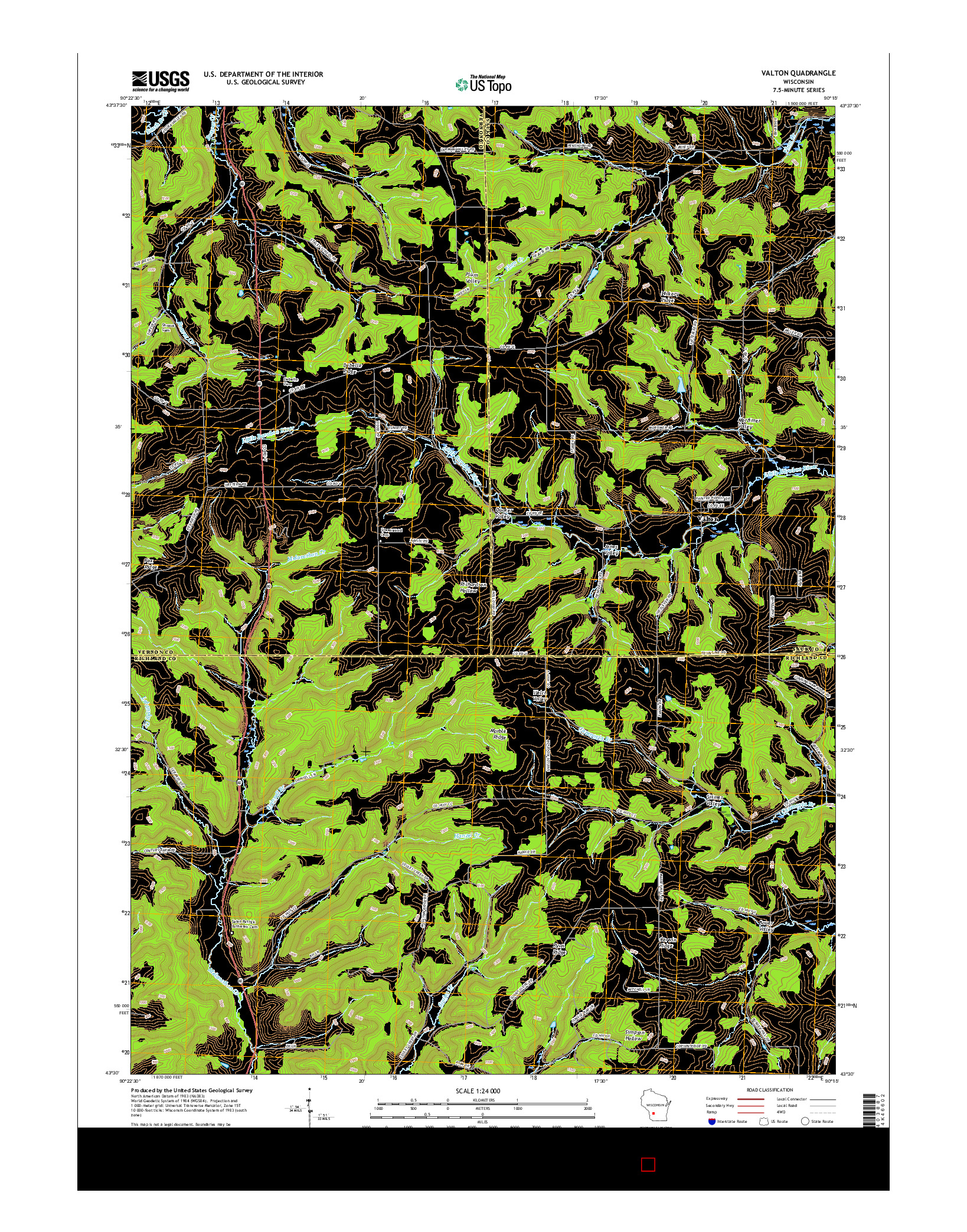 USGS US TOPO 7.5-MINUTE MAP FOR VALTON, WI 2016
