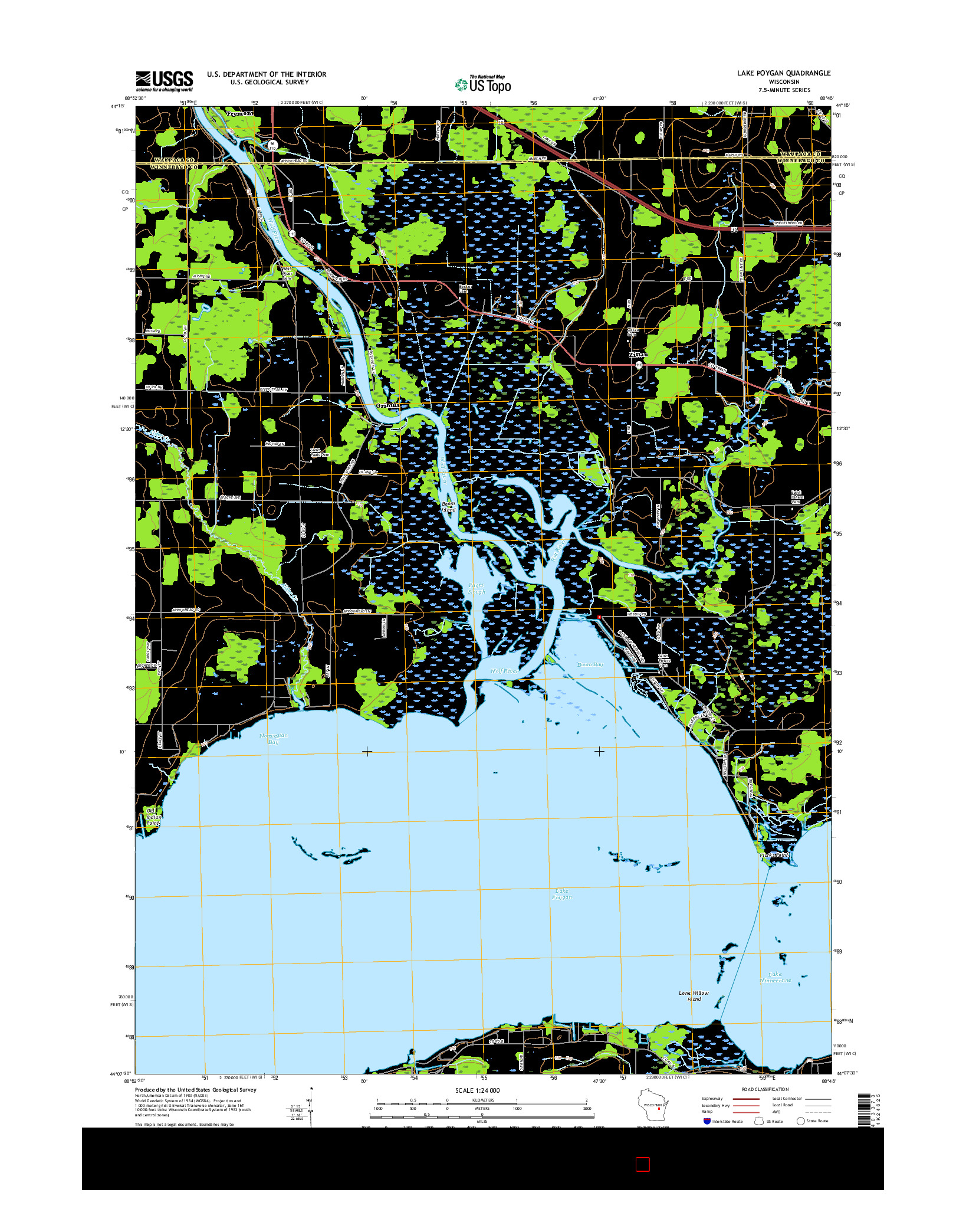 USGS US TOPO 7.5-MINUTE MAP FOR LAKE POYGAN, WI 2016
