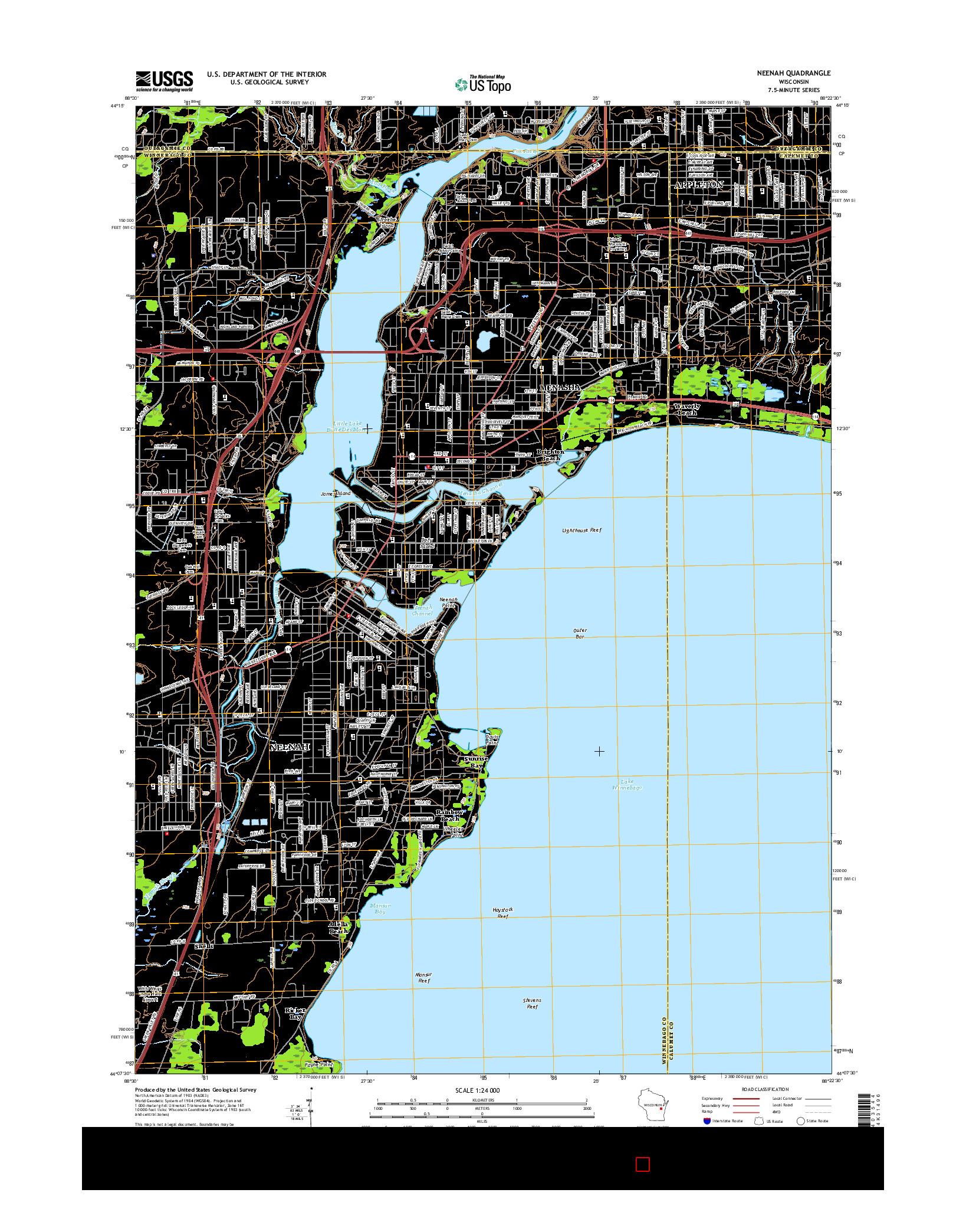 USGS US TOPO 7.5-MINUTE MAP FOR NEENAH, WI 2016