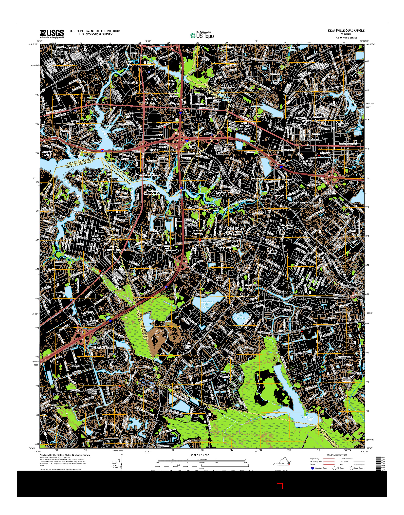 USGS US TOPO 7.5-MINUTE MAP FOR KEMPSVILLE, VA 2016