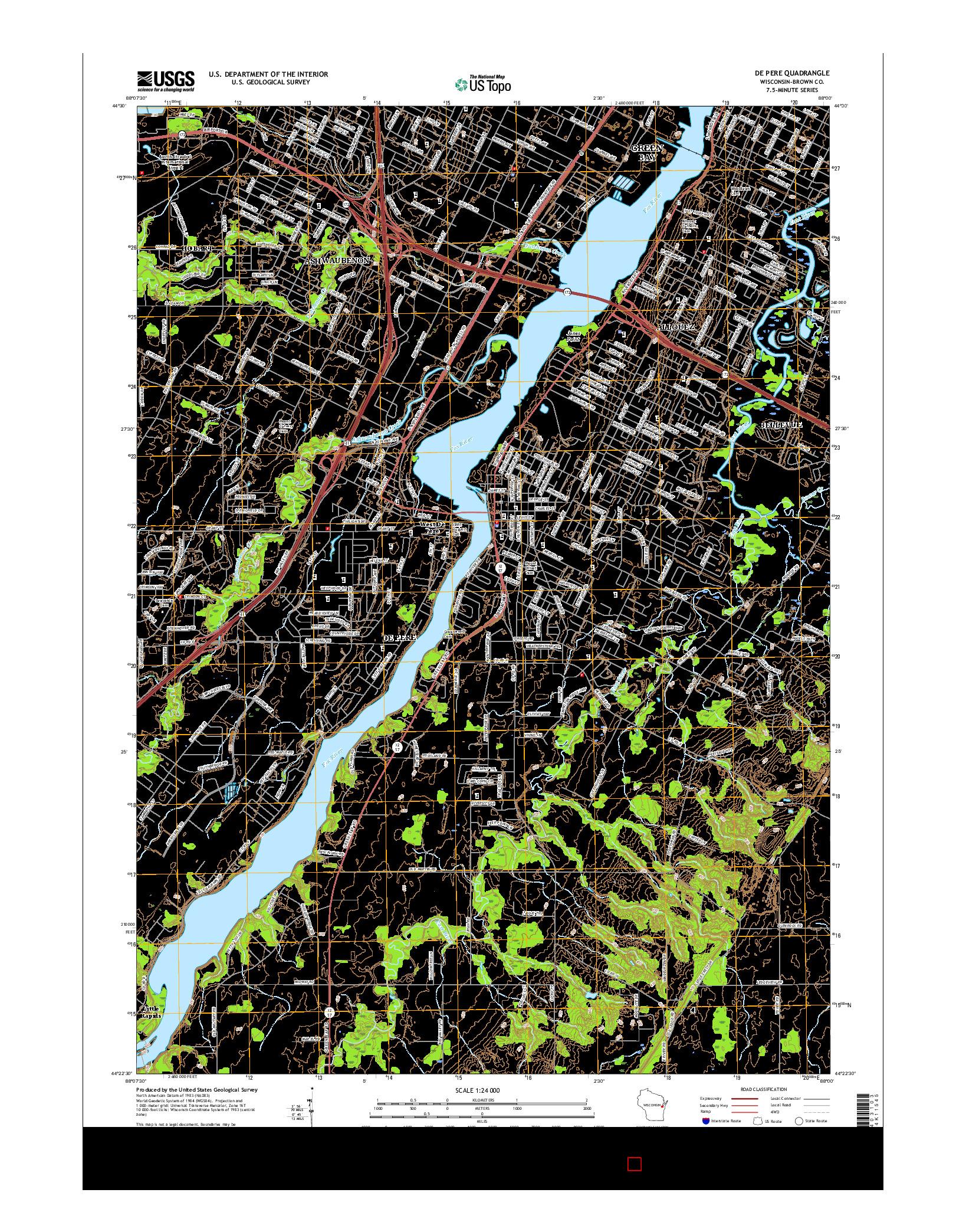 USGS US TOPO 7.5-MINUTE MAP FOR DE PERE, WI 2016