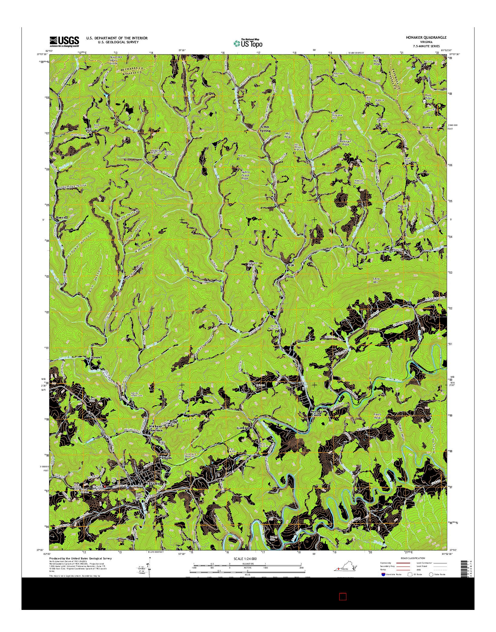 USGS US TOPO 7.5-MINUTE MAP FOR HONAKER, VA 2016