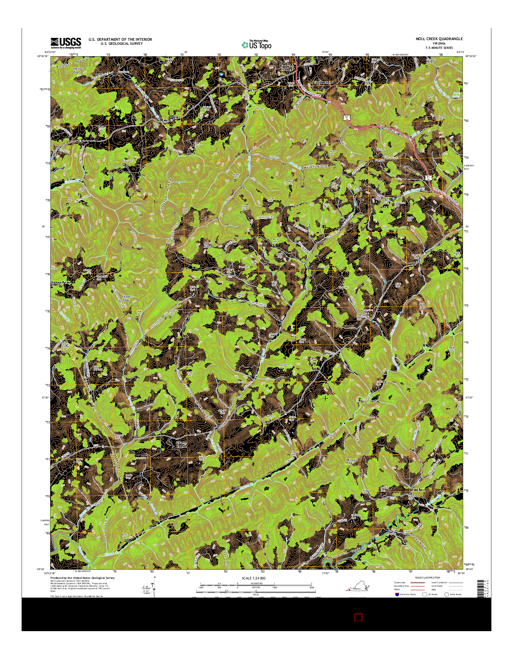 USGS US TOPO 7.5-MINUTE MAP FOR MOLL CREEK, VA 2016