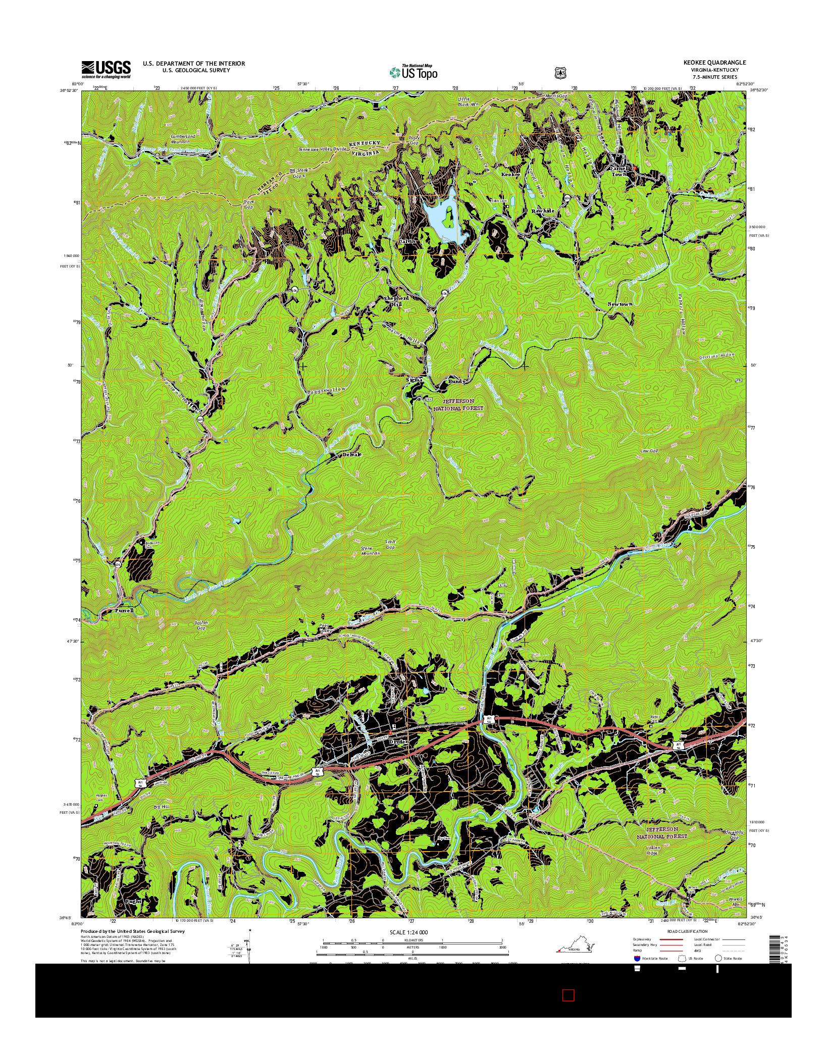 USGS US TOPO 7.5-MINUTE MAP FOR KEOKEE, VA-KY 2016