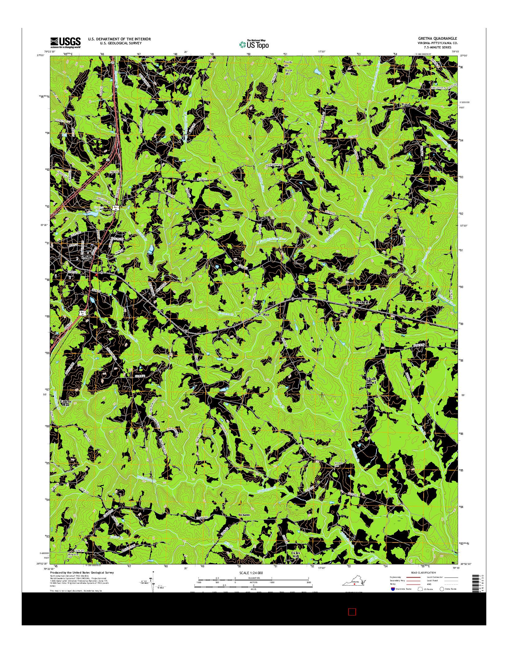 USGS US TOPO 7.5-MINUTE MAP FOR GRETNA, VA 2016