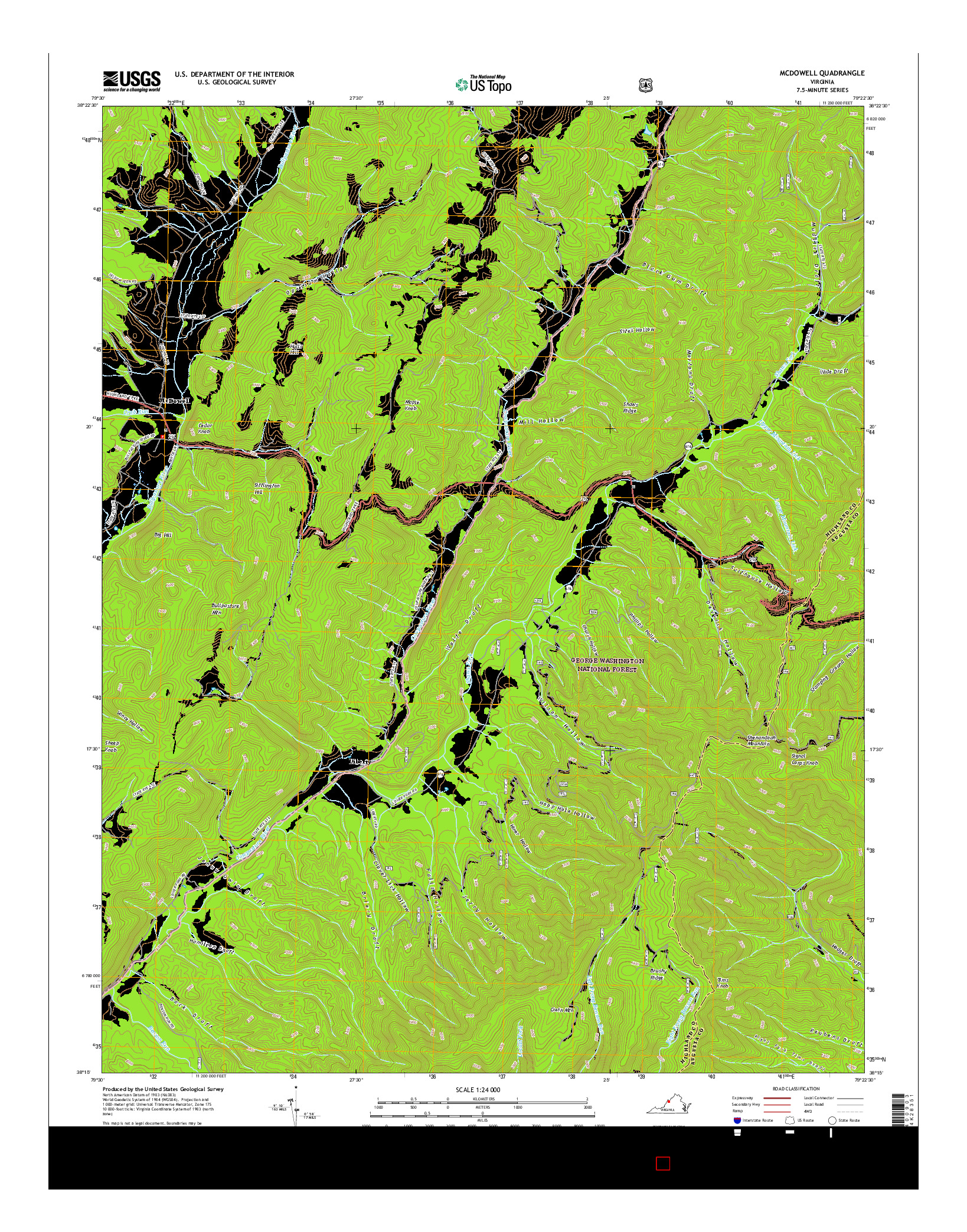 USGS US TOPO 7.5-MINUTE MAP FOR MCDOWELL, VA 2016