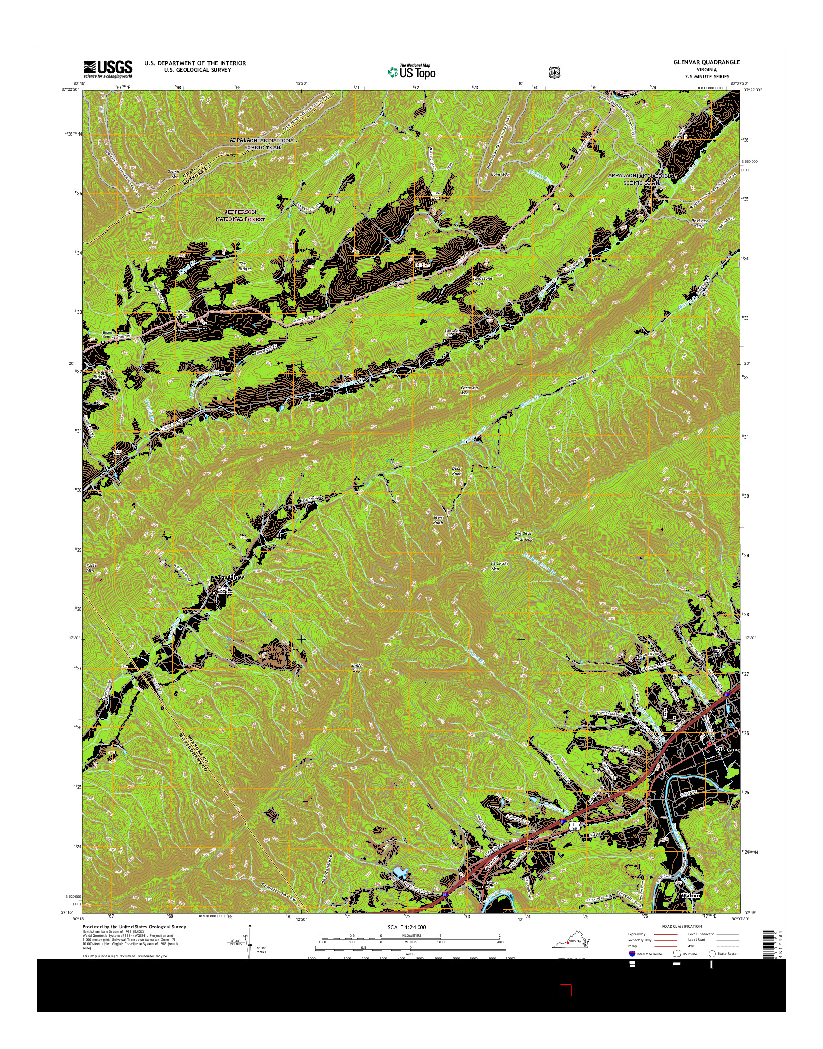 USGS US TOPO 7.5-MINUTE MAP FOR GLENVAR, VA 2016