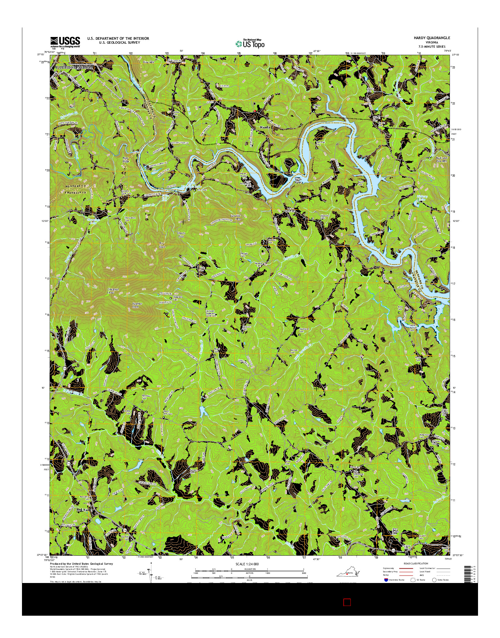 USGS US TOPO 7.5-MINUTE MAP FOR HARDY, VA 2016