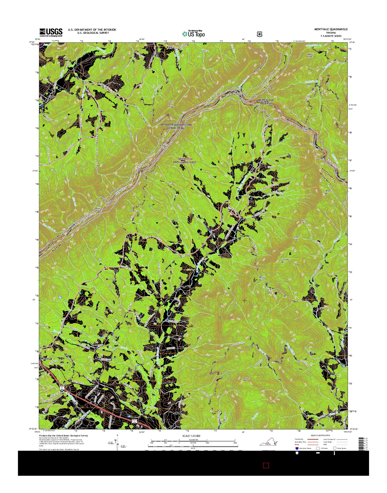 USGS US TOPO 7.5-MINUTE MAP FOR MONTVALE, VA 2016