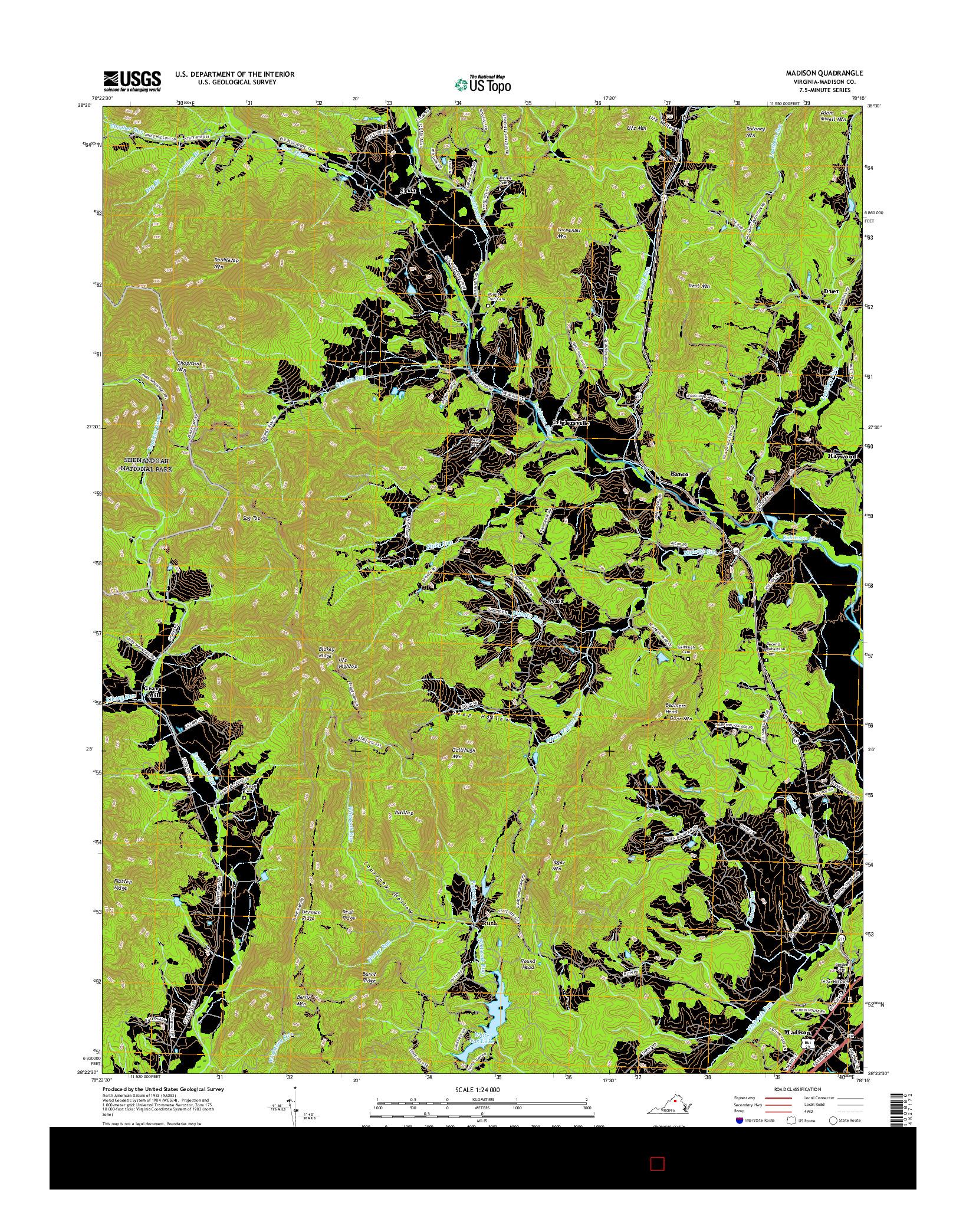 USGS US TOPO 7.5-MINUTE MAP FOR MADISON, VA 2016