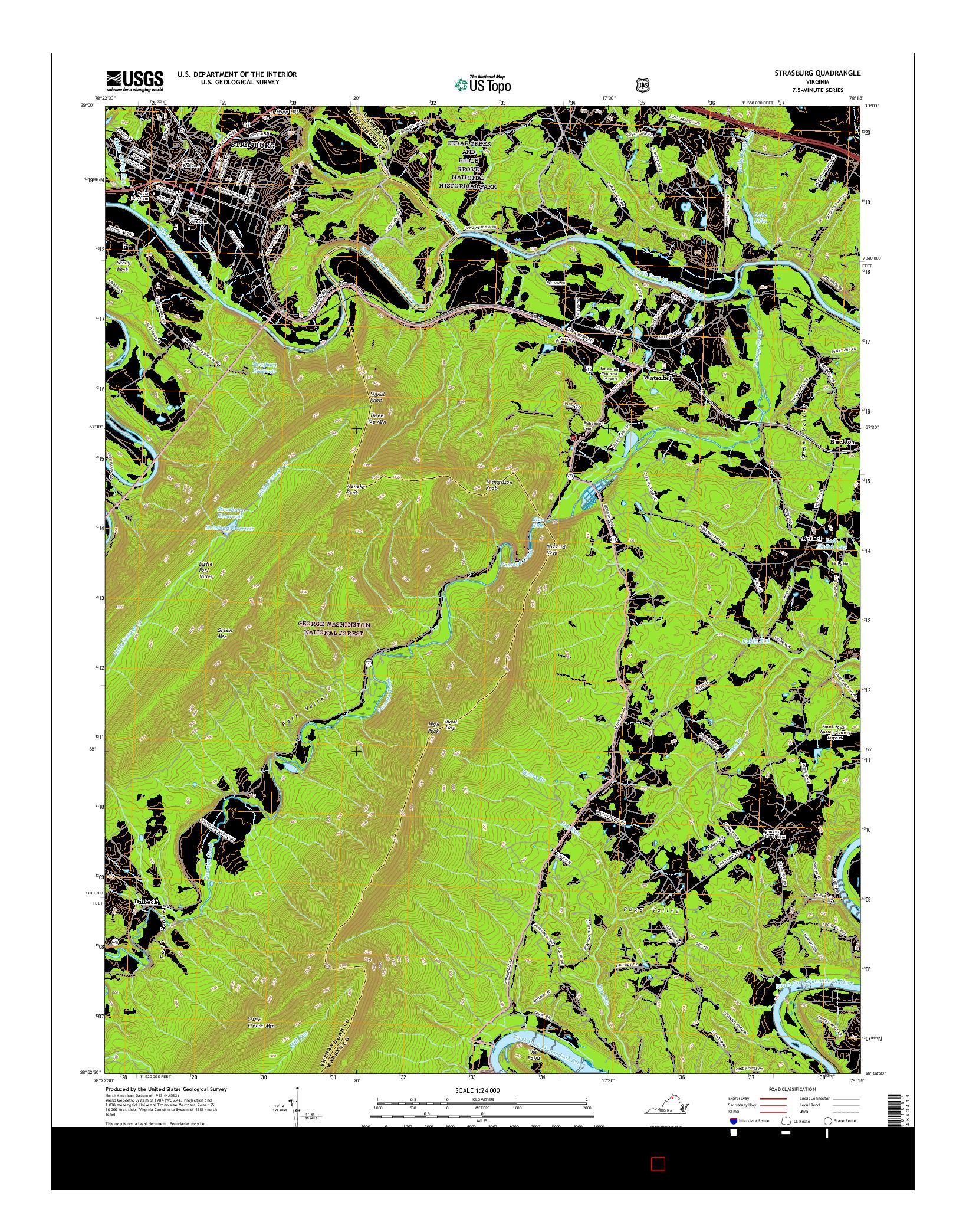 USGS US TOPO 7.5-MINUTE MAP FOR STRASBURG, VA 2016