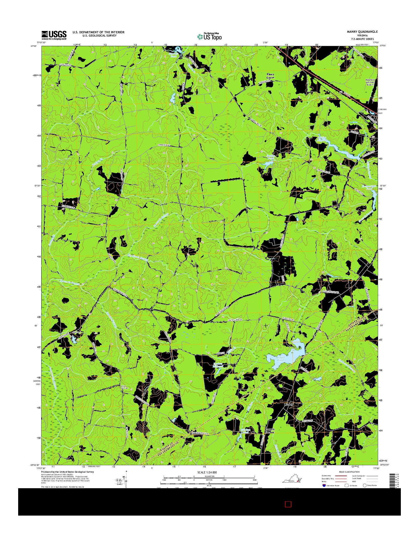 USGS US TOPO 7.5-MINUTE MAP FOR MANRY, VA 2016