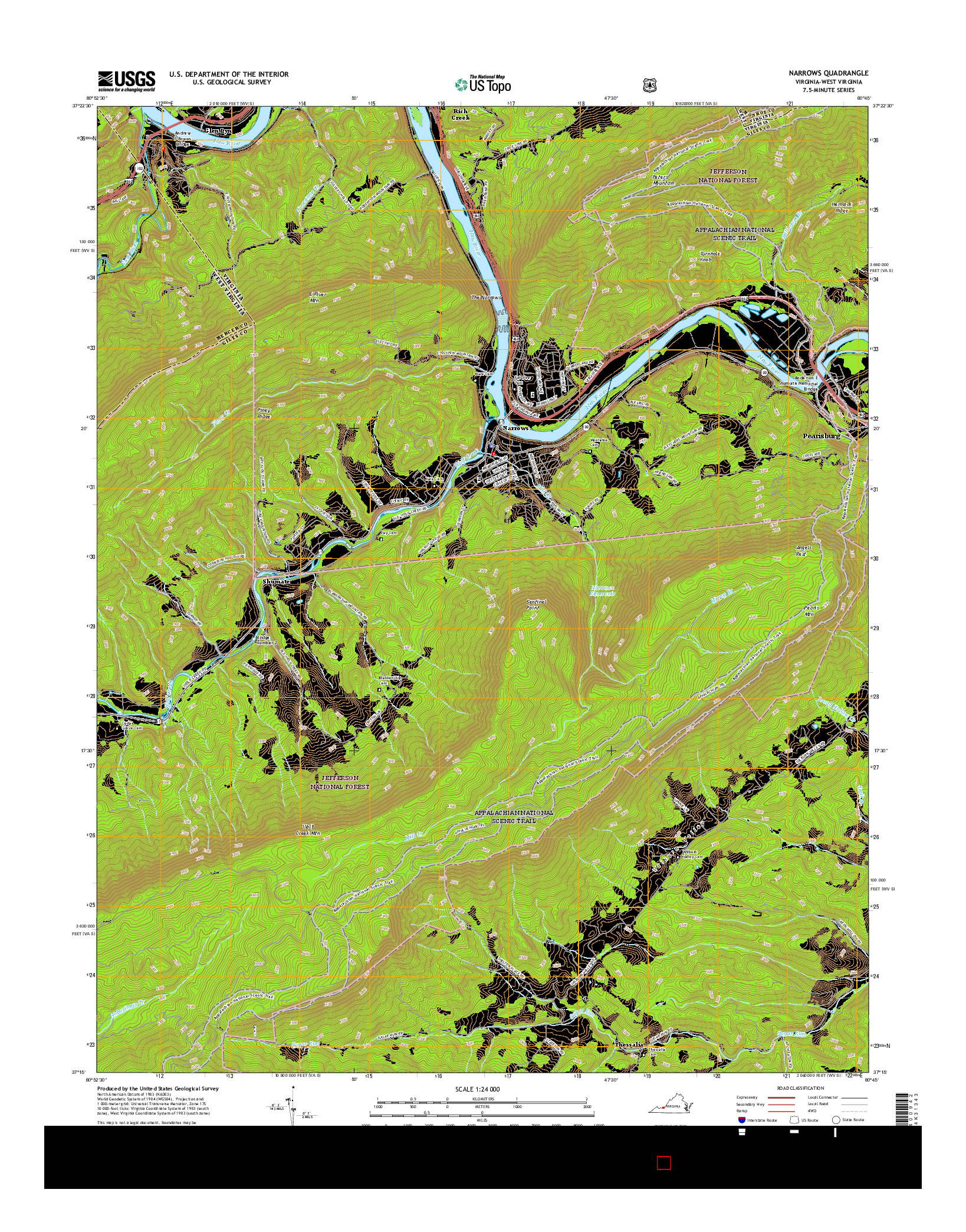 USGS US TOPO 7.5-MINUTE MAP FOR NARROWS, VA-WV 2016