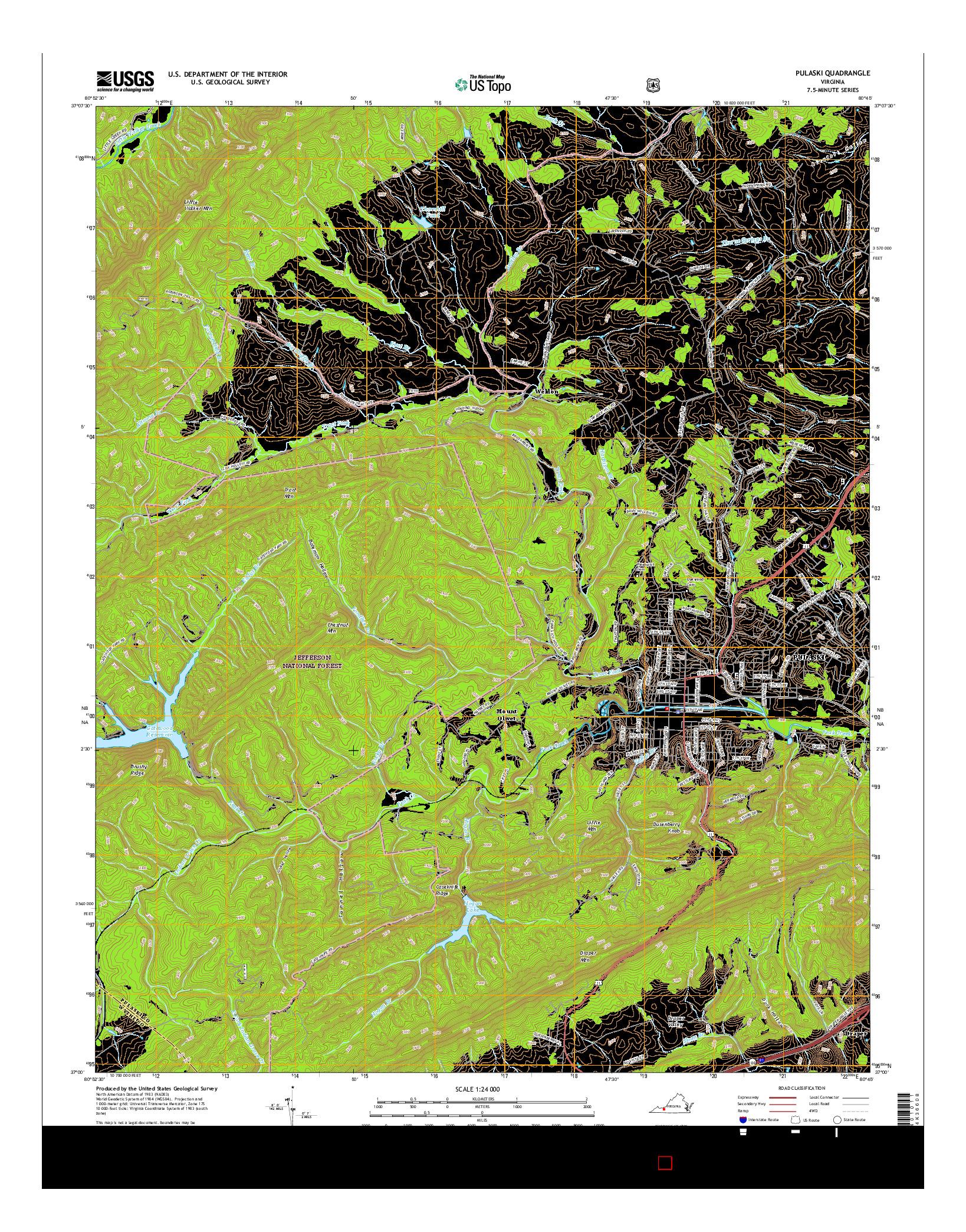 USGS US TOPO 7.5-MINUTE MAP FOR PULASKI, VA 2016