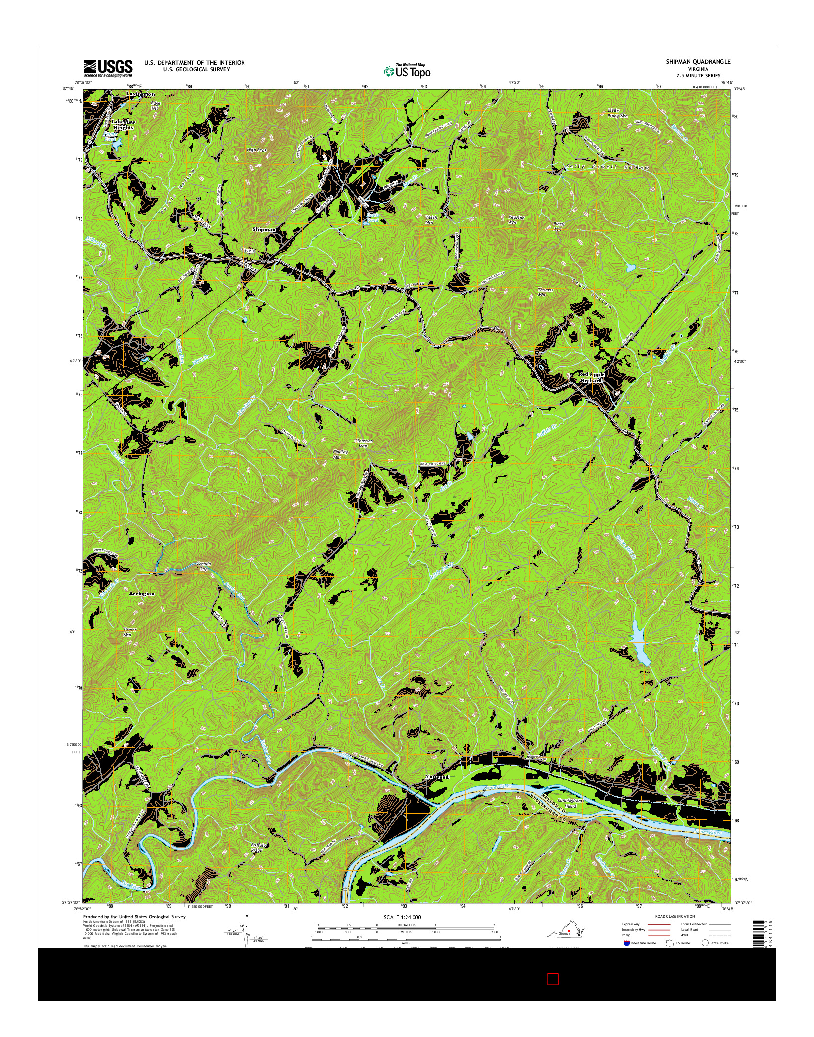 USGS US TOPO 7.5-MINUTE MAP FOR SHIPMAN, VA 2016