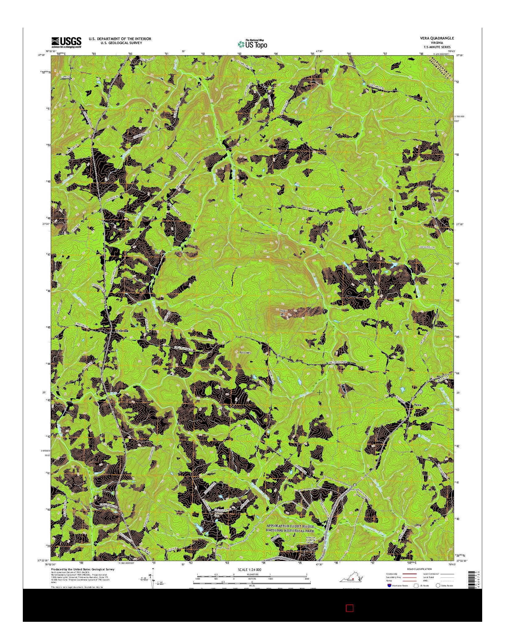 USGS US TOPO 7.5-MINUTE MAP FOR VERA, VA 2016