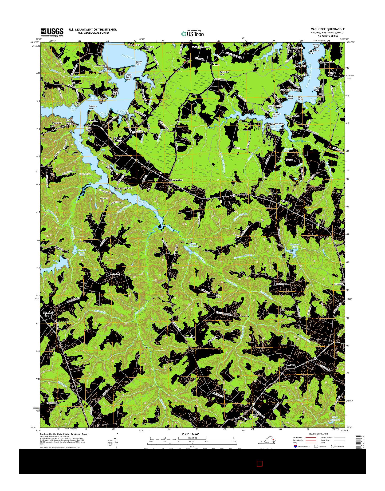 USGS US TOPO 7.5-MINUTE MAP FOR MACHODOC, VA 2016