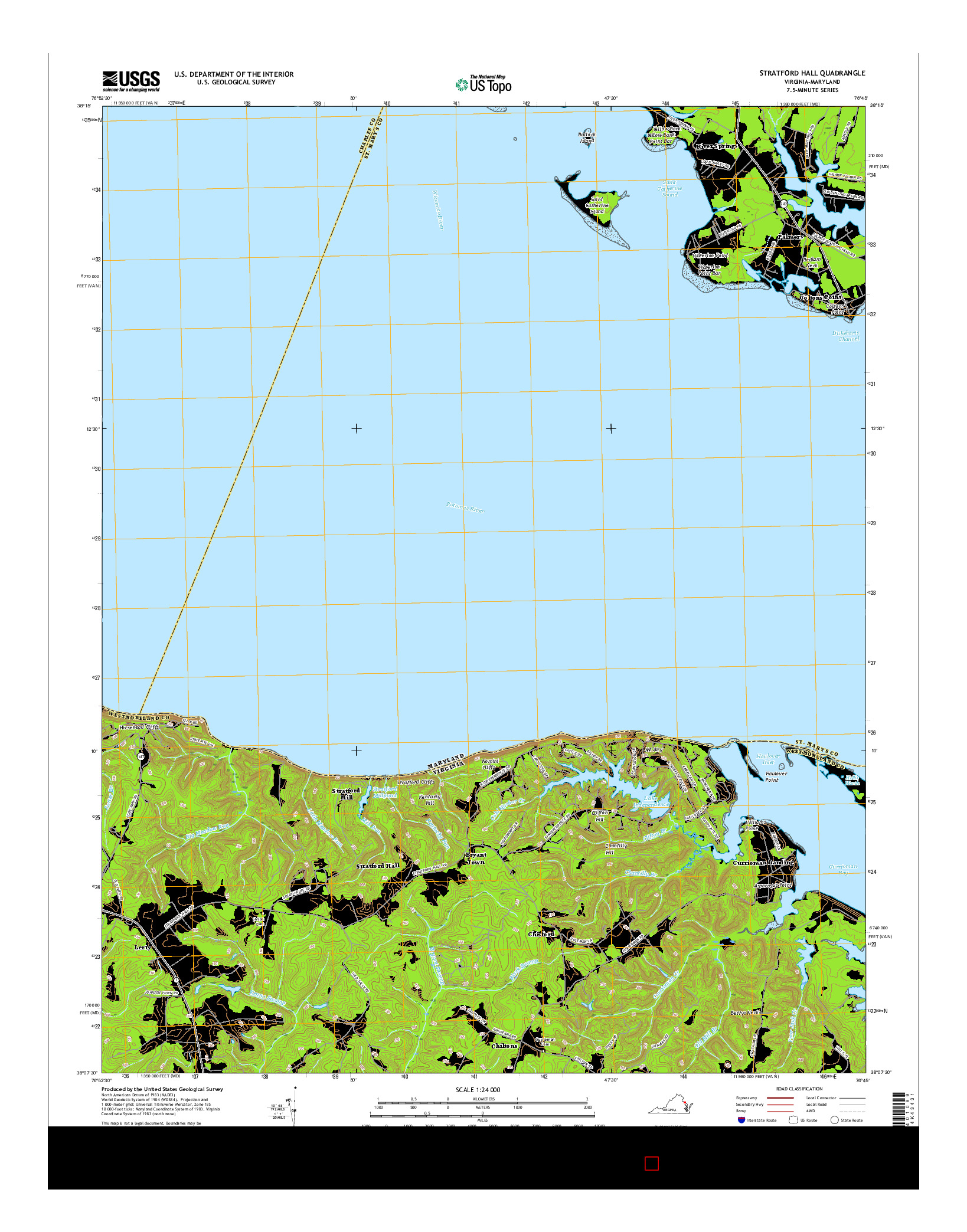 USGS US TOPO 7.5-MINUTE MAP FOR STRATFORD HALL, VA-MD 2016