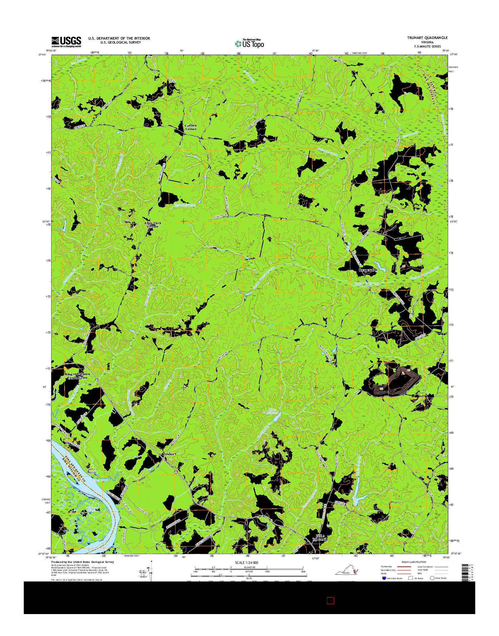 USGS US TOPO 7.5-MINUTE MAP FOR TRUHART, VA 2016