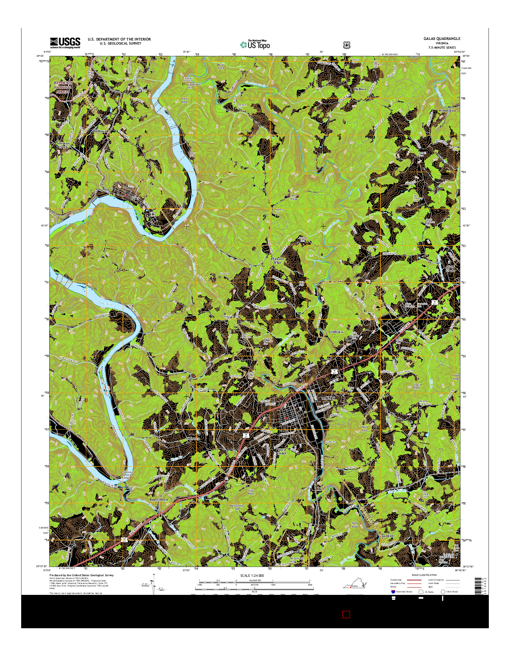 USGS US TOPO 7.5-MINUTE MAP FOR GALAX, VA 2016