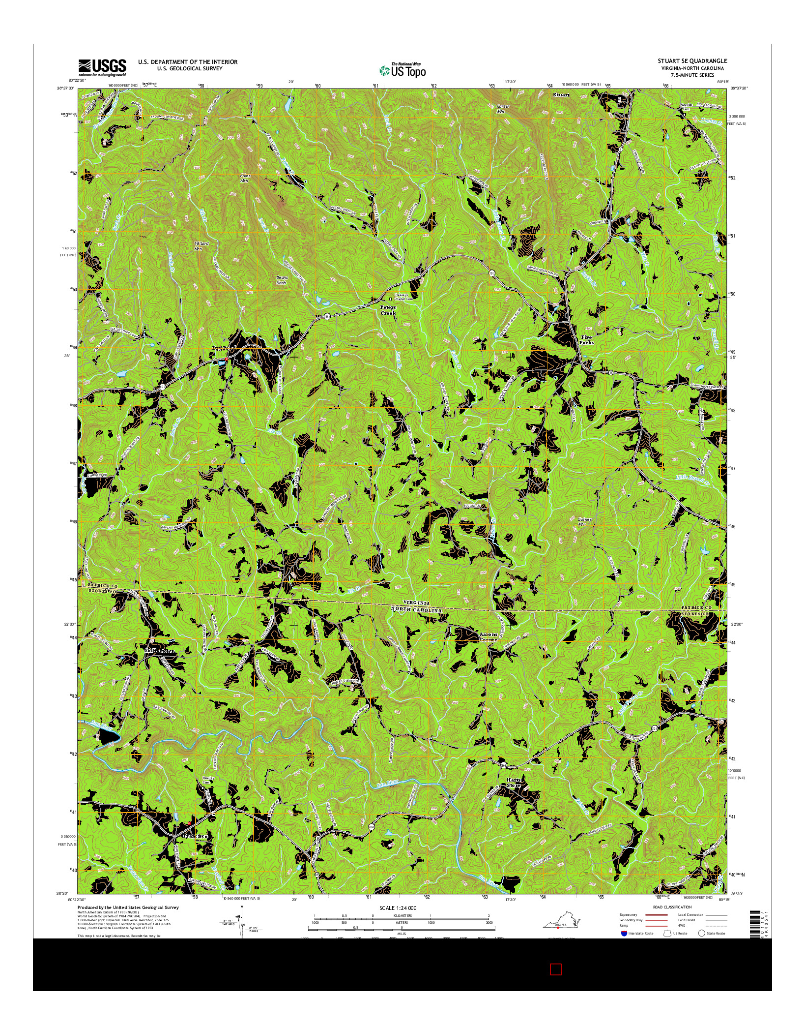 USGS US TOPO 7.5-MINUTE MAP FOR STUART SE, VA-NC 2016