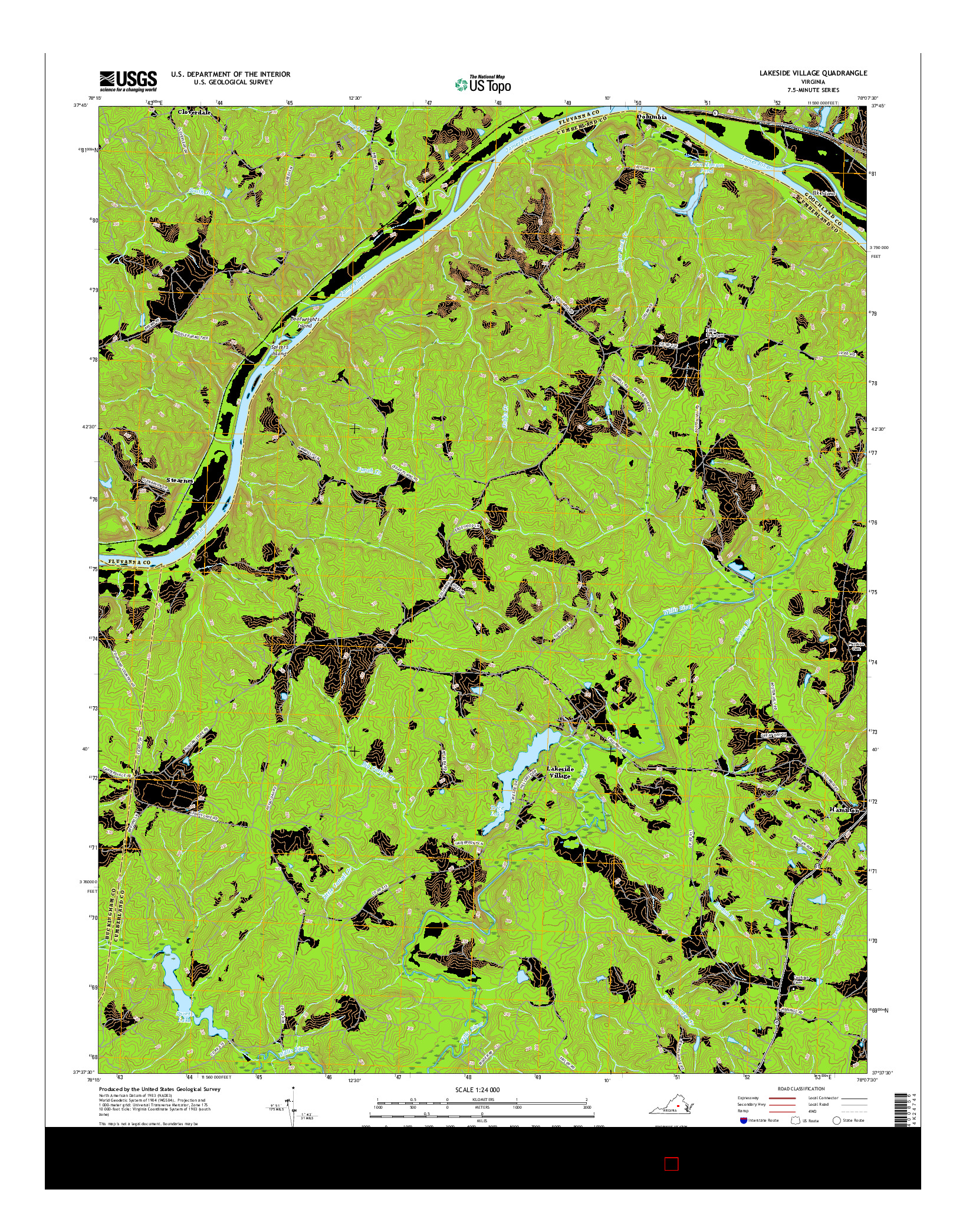USGS US TOPO 7.5-MINUTE MAP FOR LAKESIDE VILLAGE, VA 2016