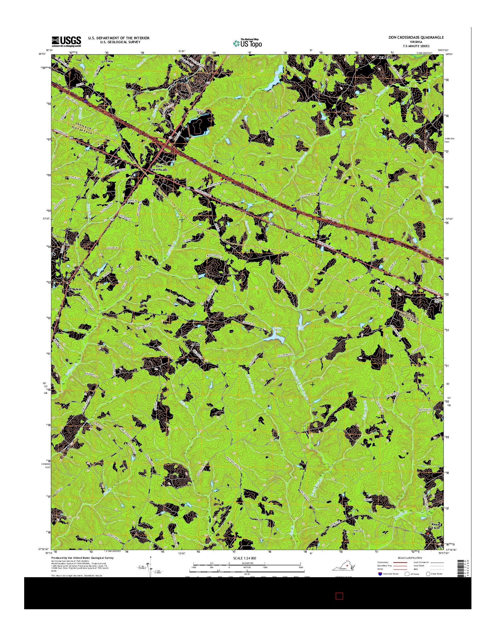 USGS US TOPO 7.5-MINUTE MAP FOR ZION CROSSROADS, VA 2016