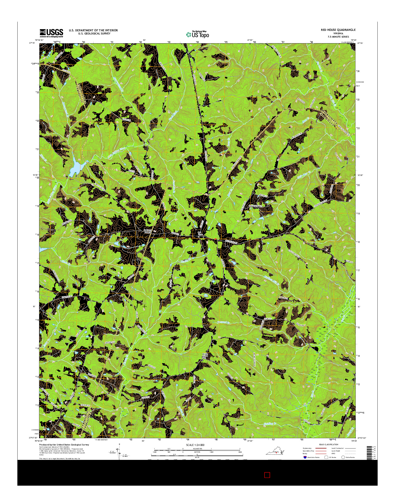 USGS US TOPO 7.5-MINUTE MAP FOR RED HOUSE, VA 2016
