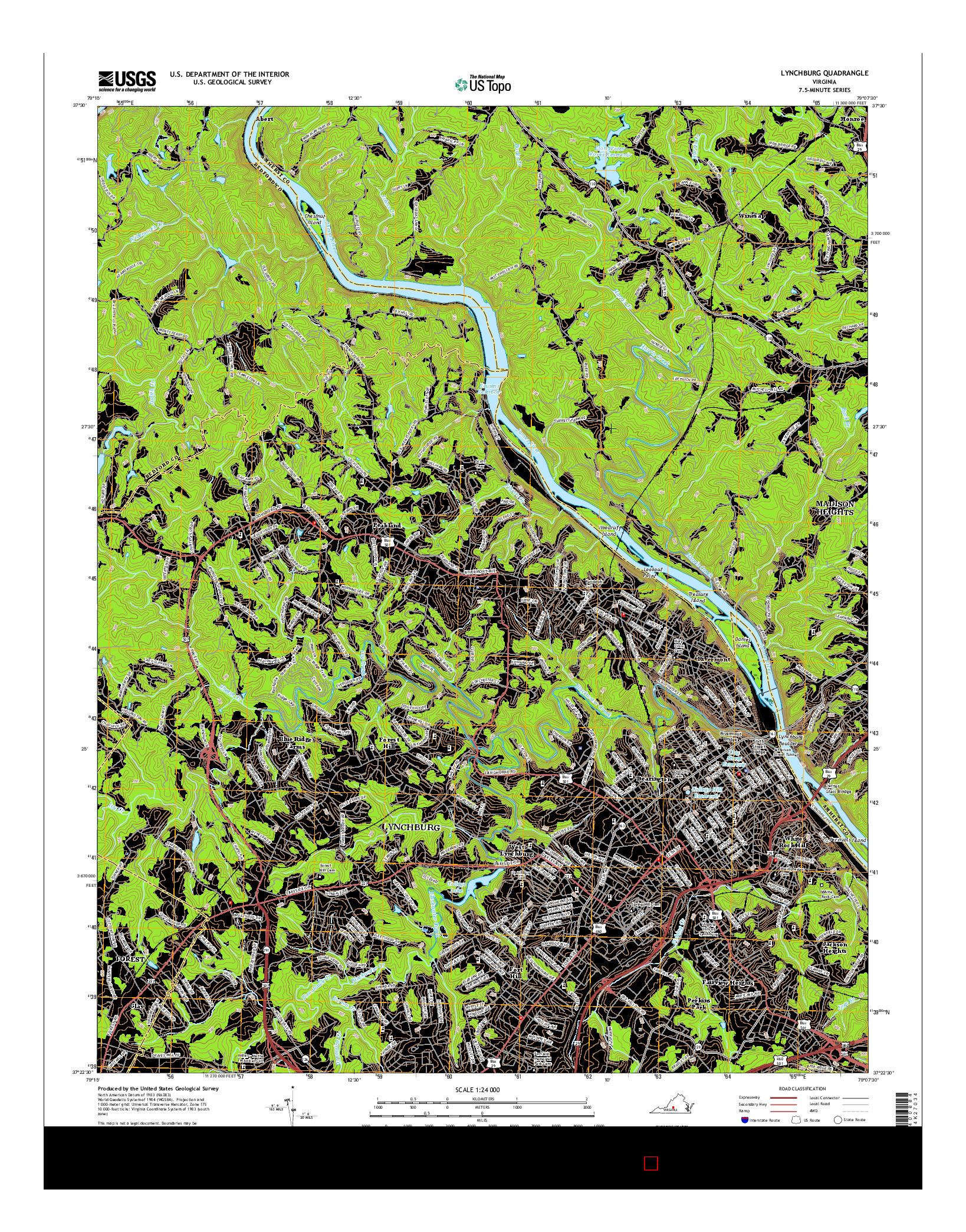 USGS US TOPO 7.5-MINUTE MAP FOR LYNCHBURG, VA 2016