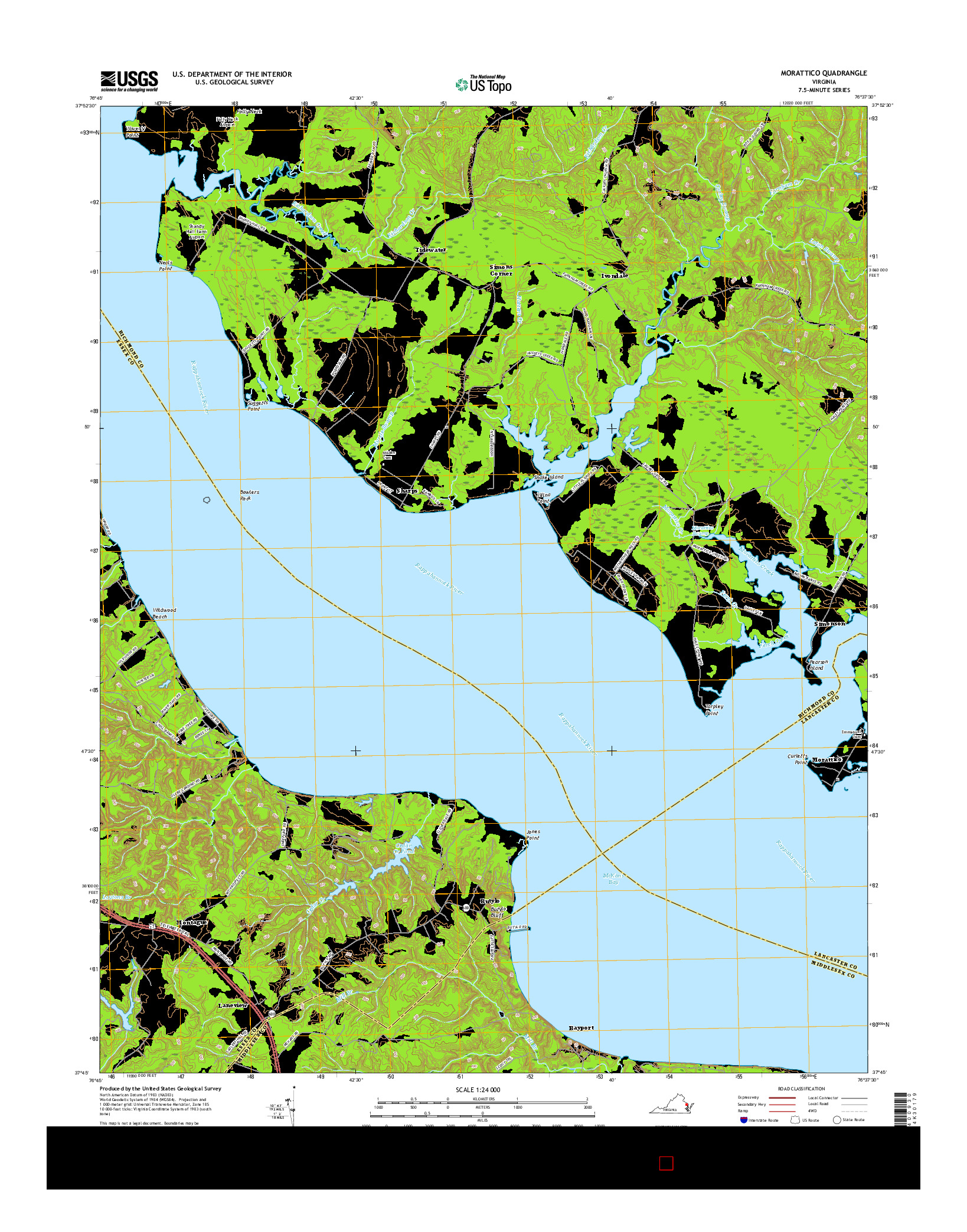 USGS US TOPO 7.5-MINUTE MAP FOR MORATTICO, VA 2016