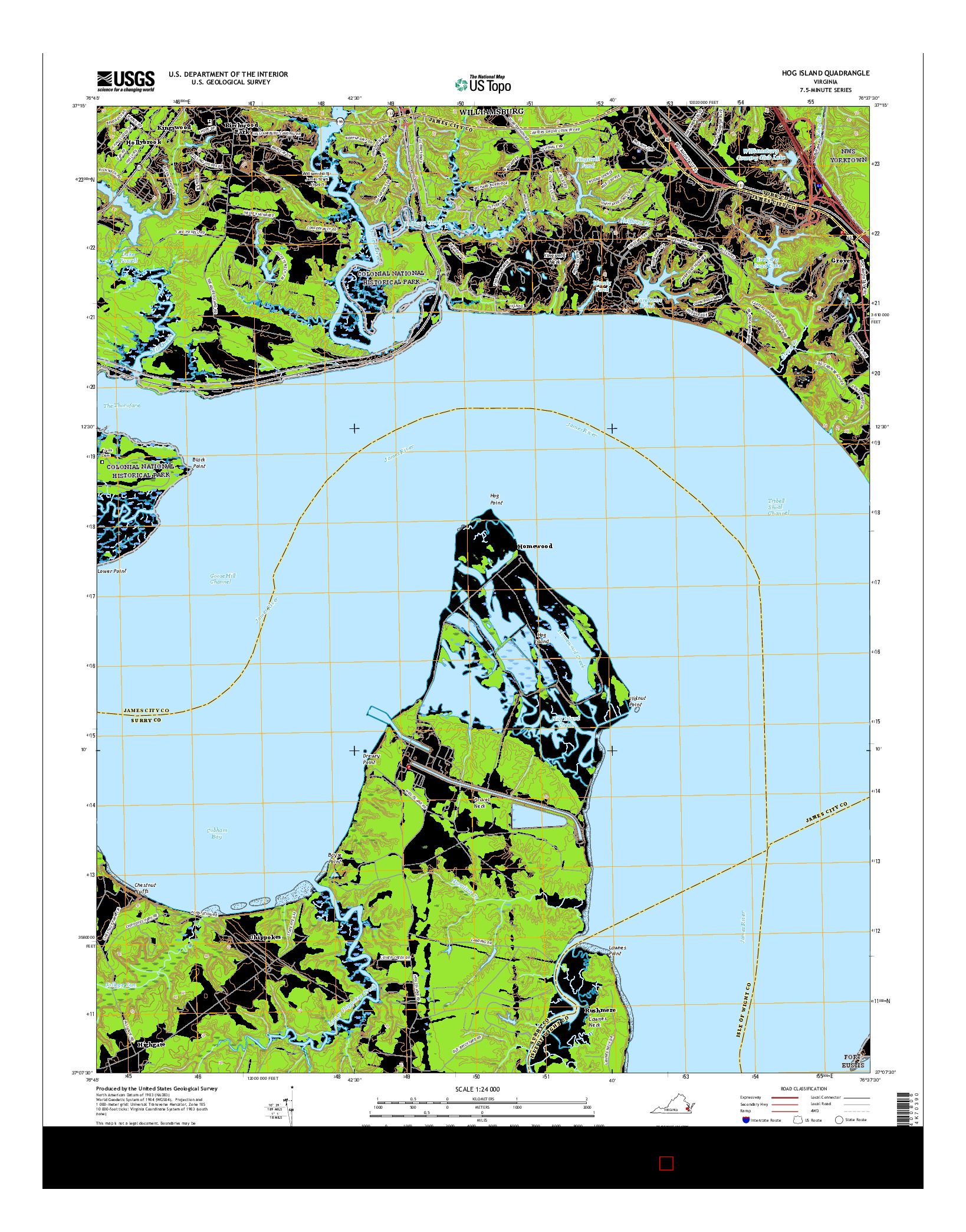 USGS US TOPO 7.5-MINUTE MAP FOR HOG ISLAND, VA 2016