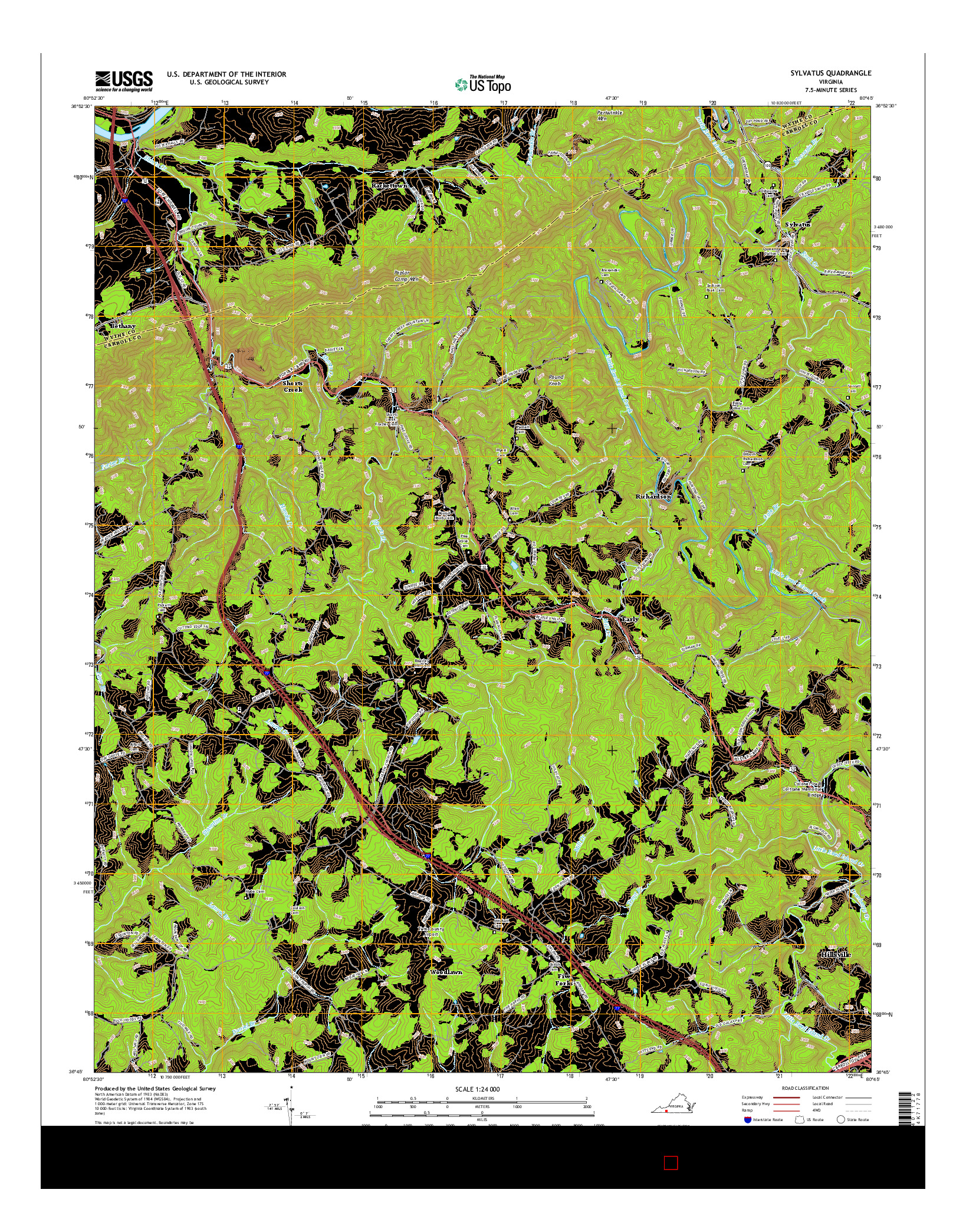 USGS US TOPO 7.5-MINUTE MAP FOR SYLVATUS, VA 2016