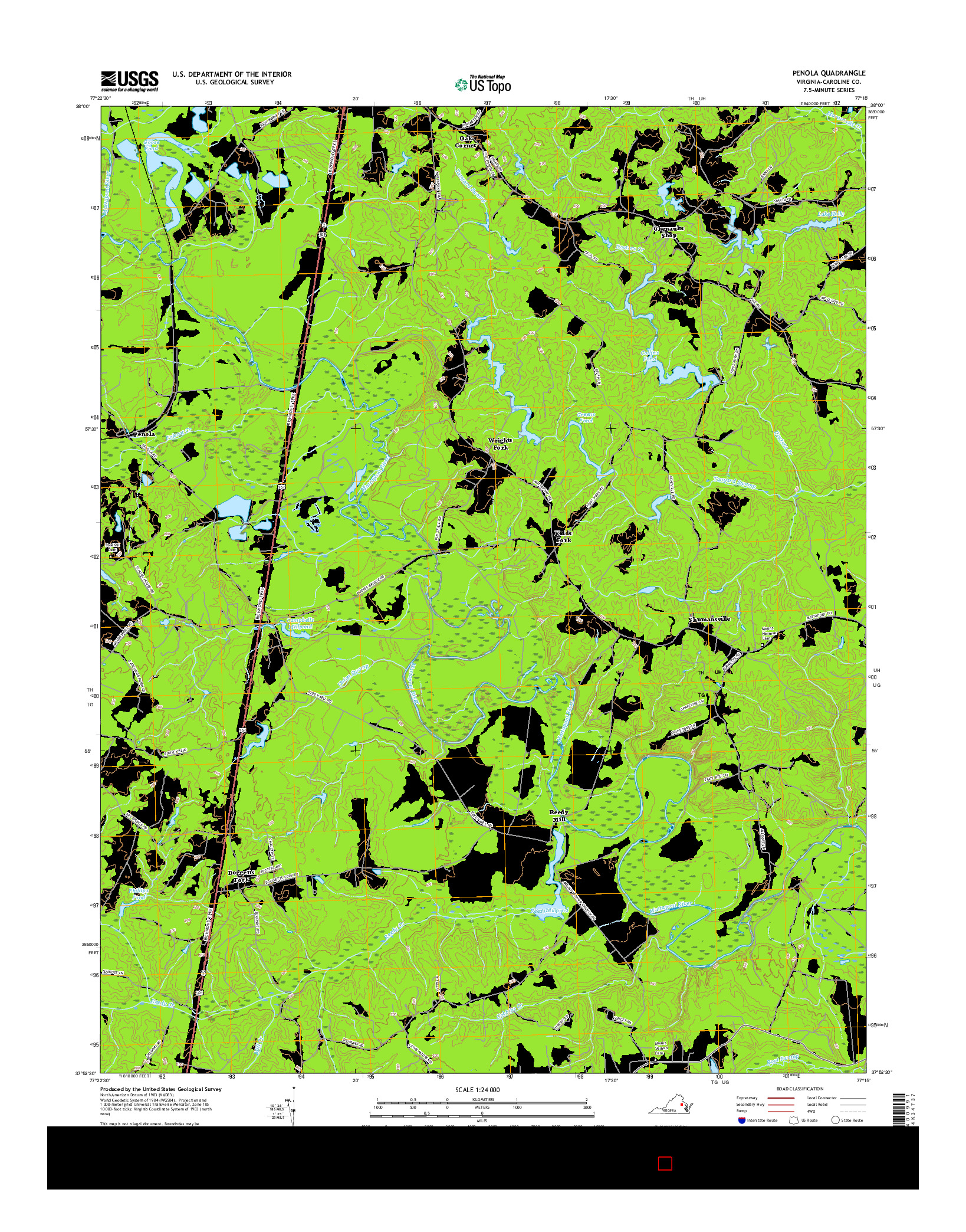 USGS US TOPO 7.5-MINUTE MAP FOR PENOLA, VA 2016
