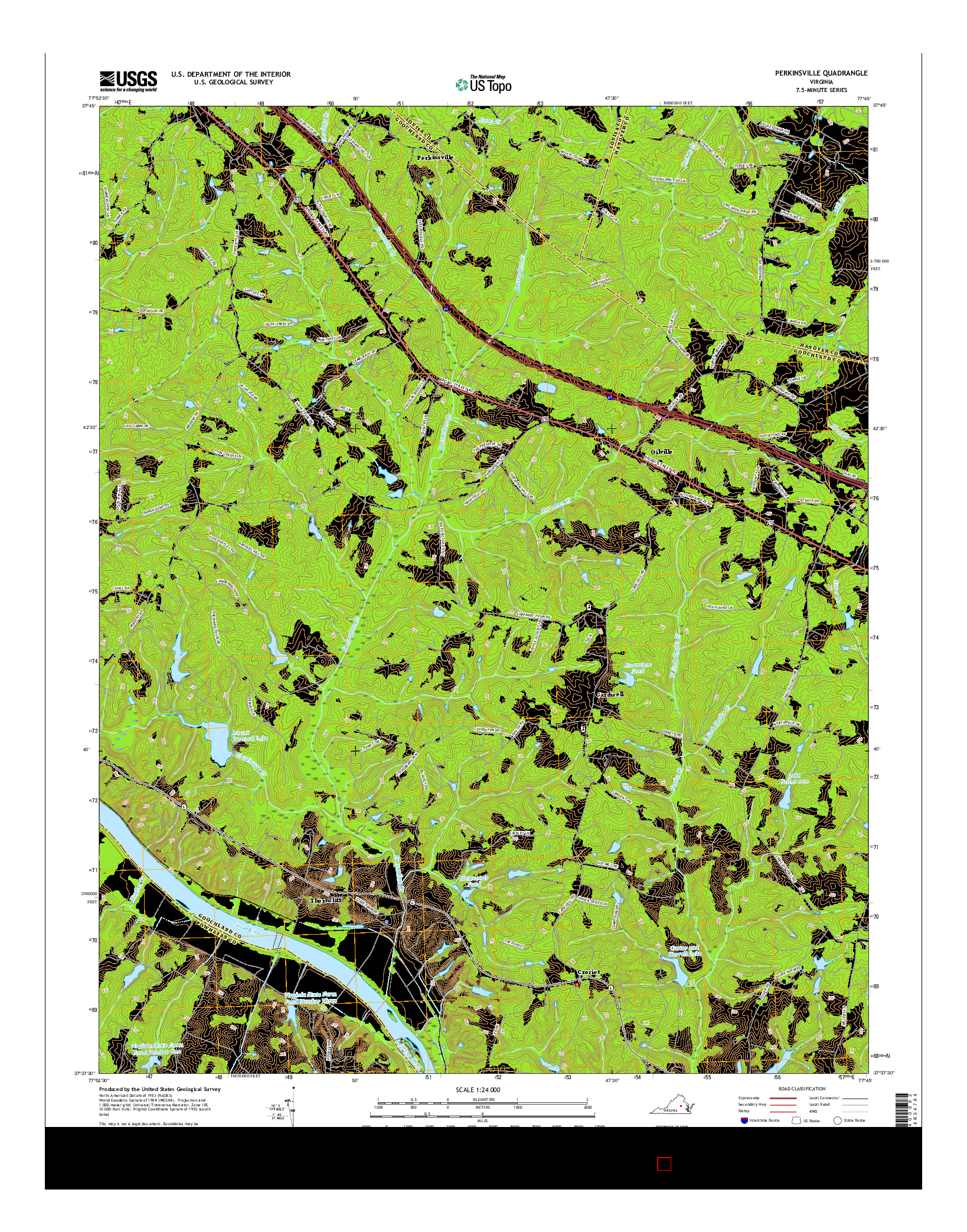 USGS US TOPO 7.5-MINUTE MAP FOR PERKINSVILLE, VA 2016