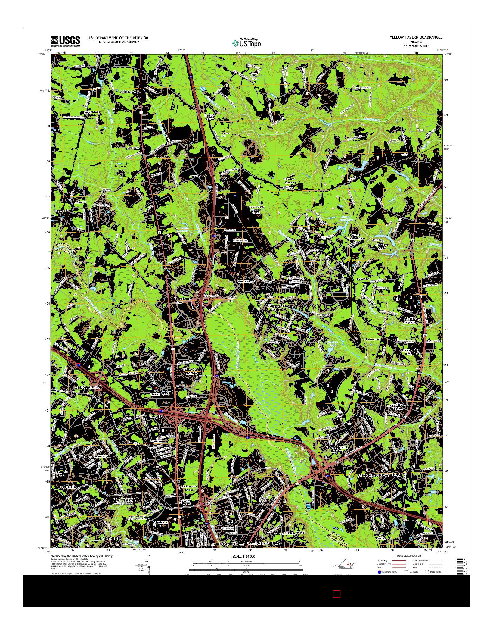 USGS US TOPO 7.5-MINUTE MAP FOR YELLOW TAVERN, VA 2016