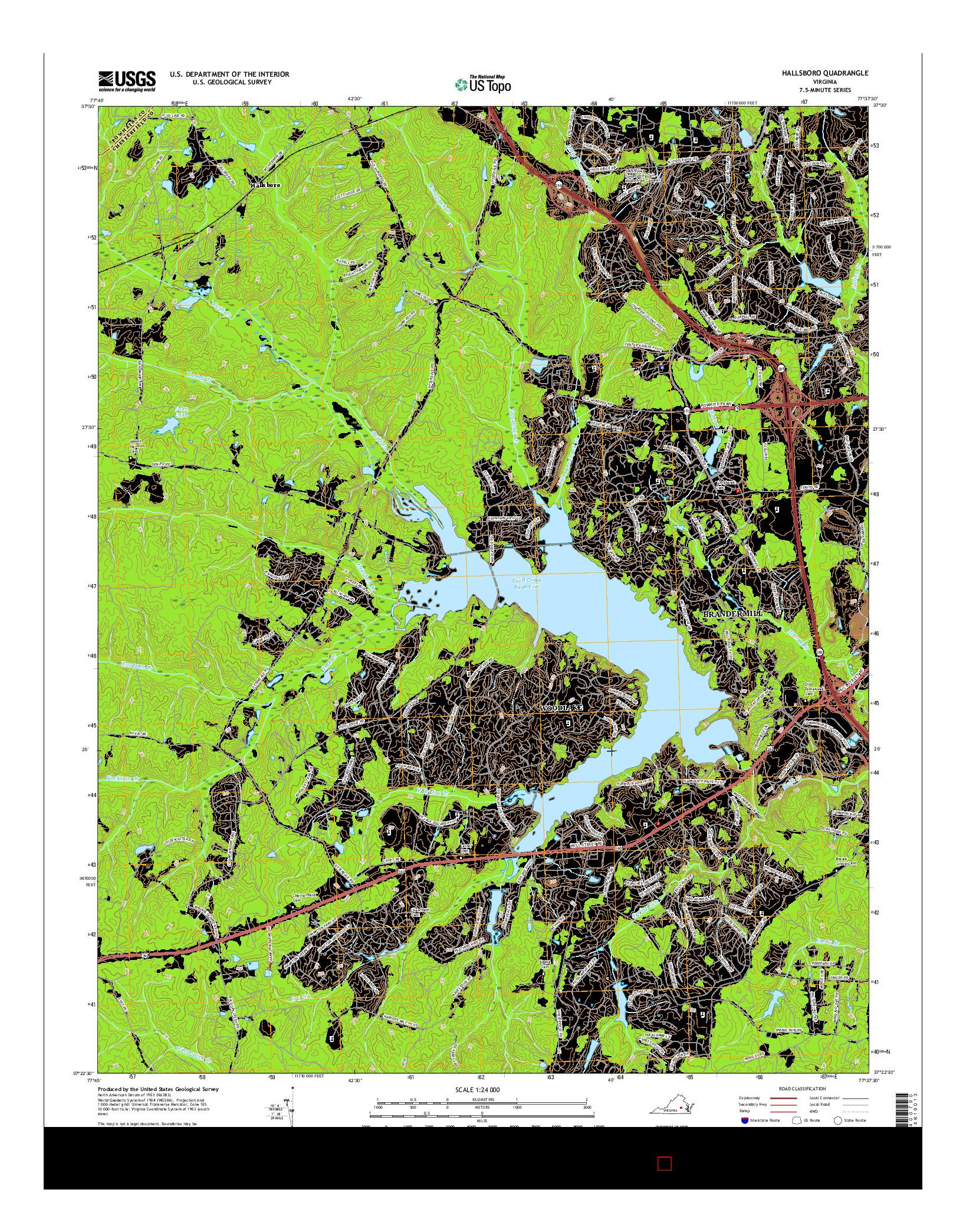 USGS US TOPO 7.5-MINUTE MAP FOR HALLSBORO, VA 2016