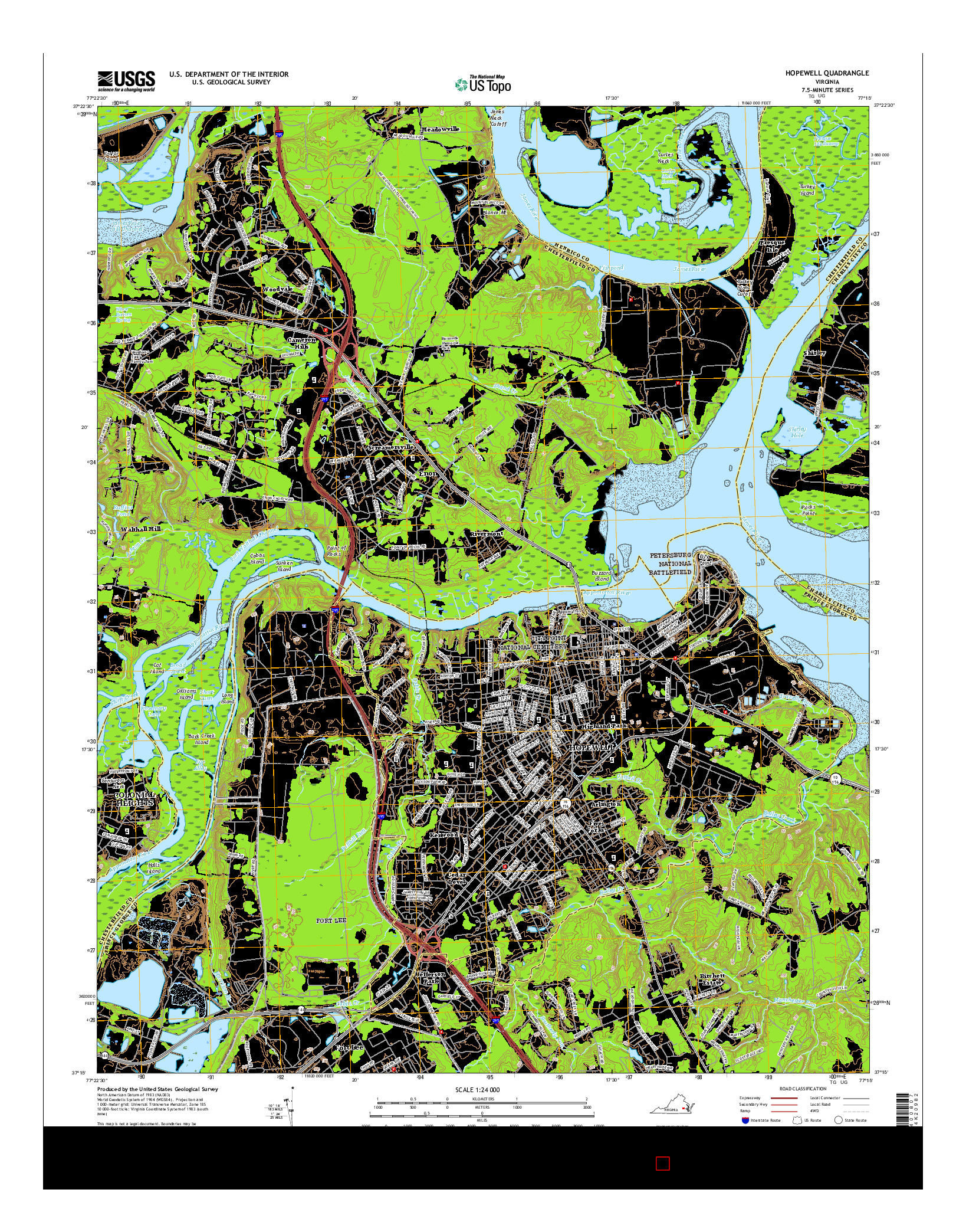 USGS US TOPO 7.5-MINUTE MAP FOR HOPEWELL, VA 2016