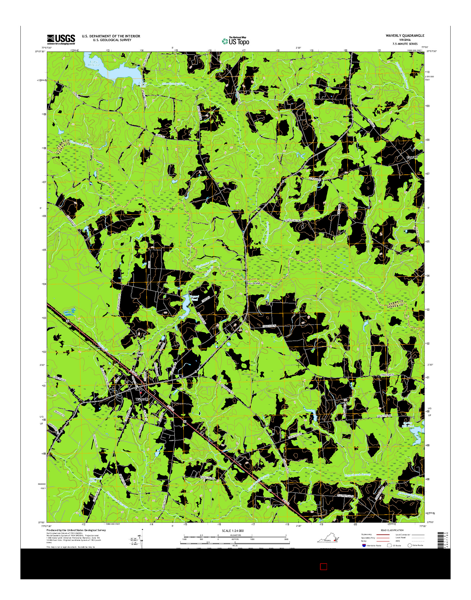 USGS US TOPO 7.5-MINUTE MAP FOR WAVERLY, VA 2016