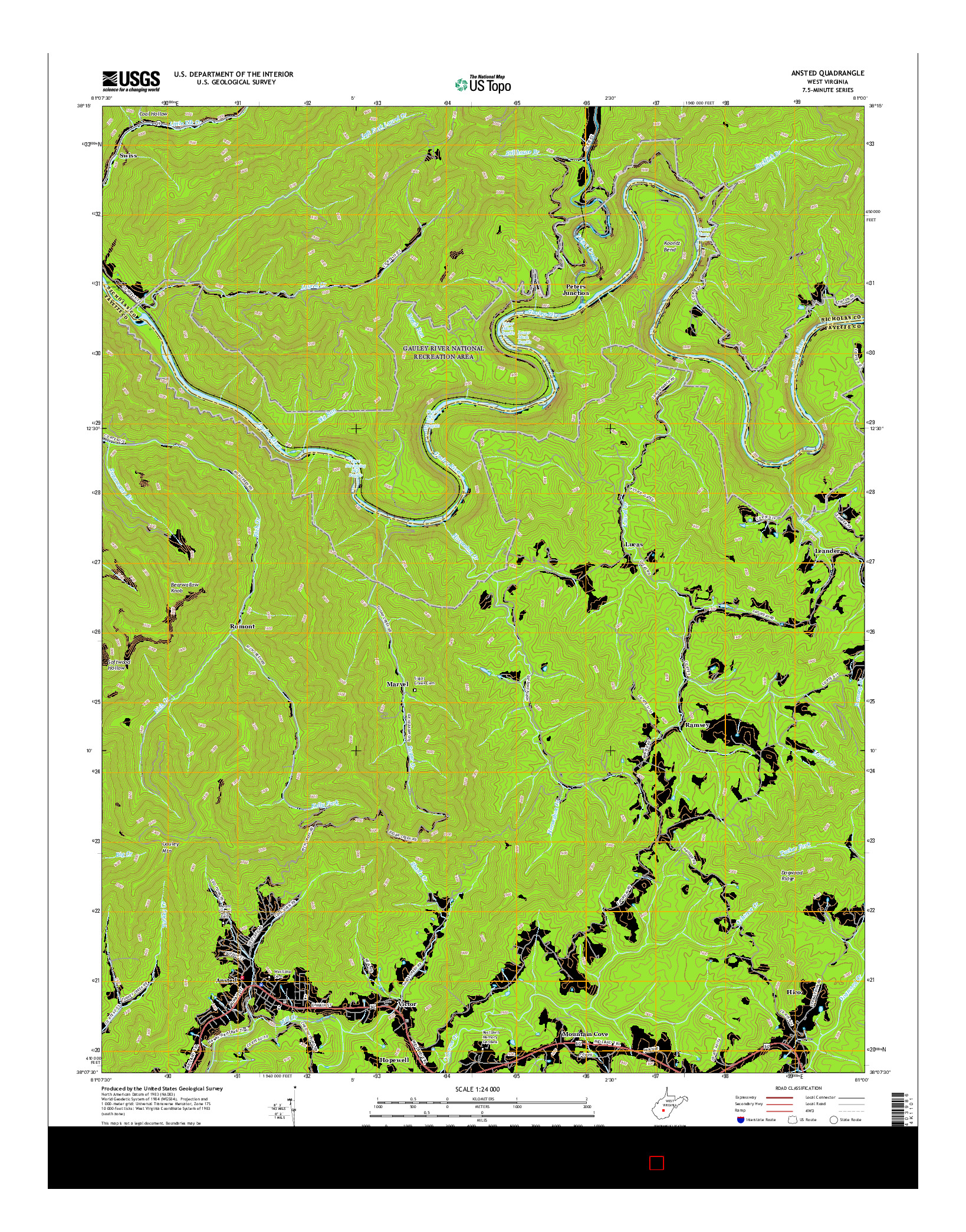 USGS US TOPO 7.5-MINUTE MAP FOR ANSTED, WV 2016