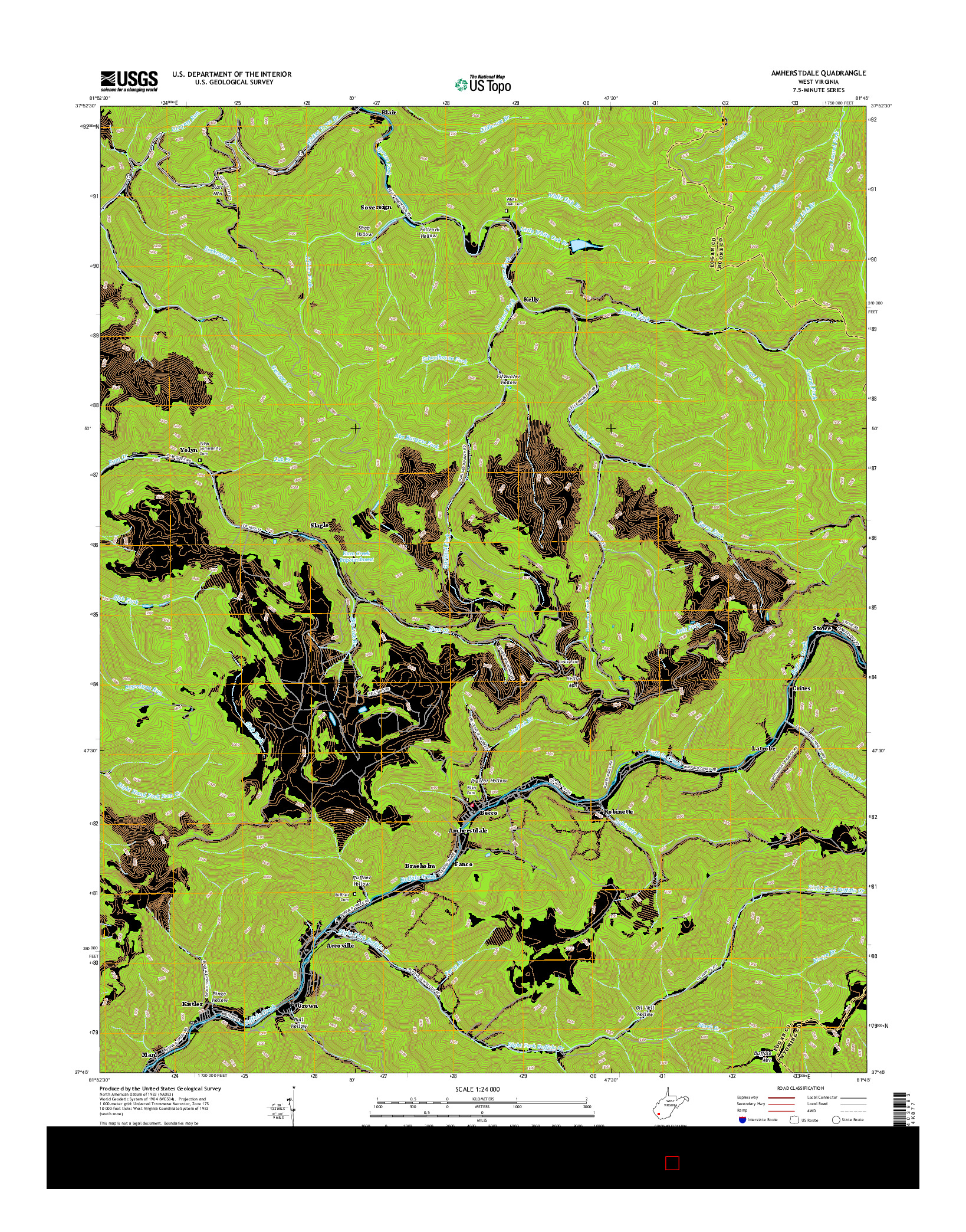 USGS US TOPO 7.5-MINUTE MAP FOR AMHERSTDALE, WV 2016